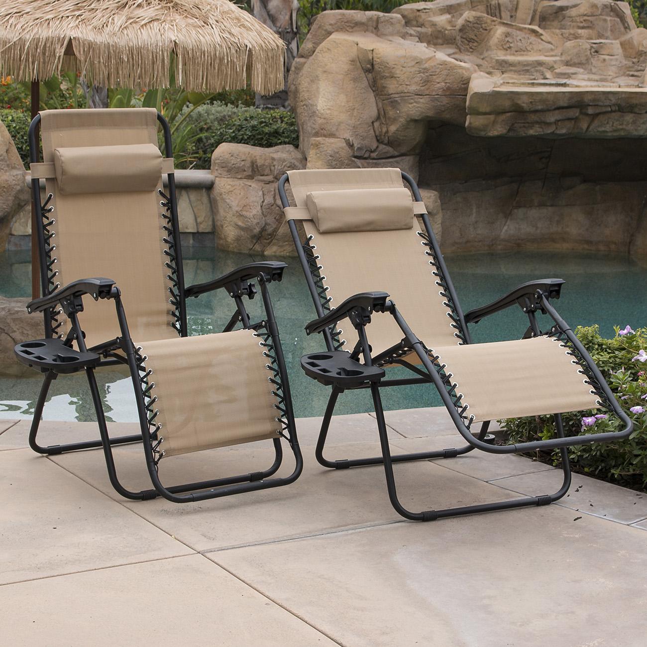 Amazing Zero Gravity Chairs Case Of (2) Tan Lounge Patio Chairs Outdoor Yard Beach  New