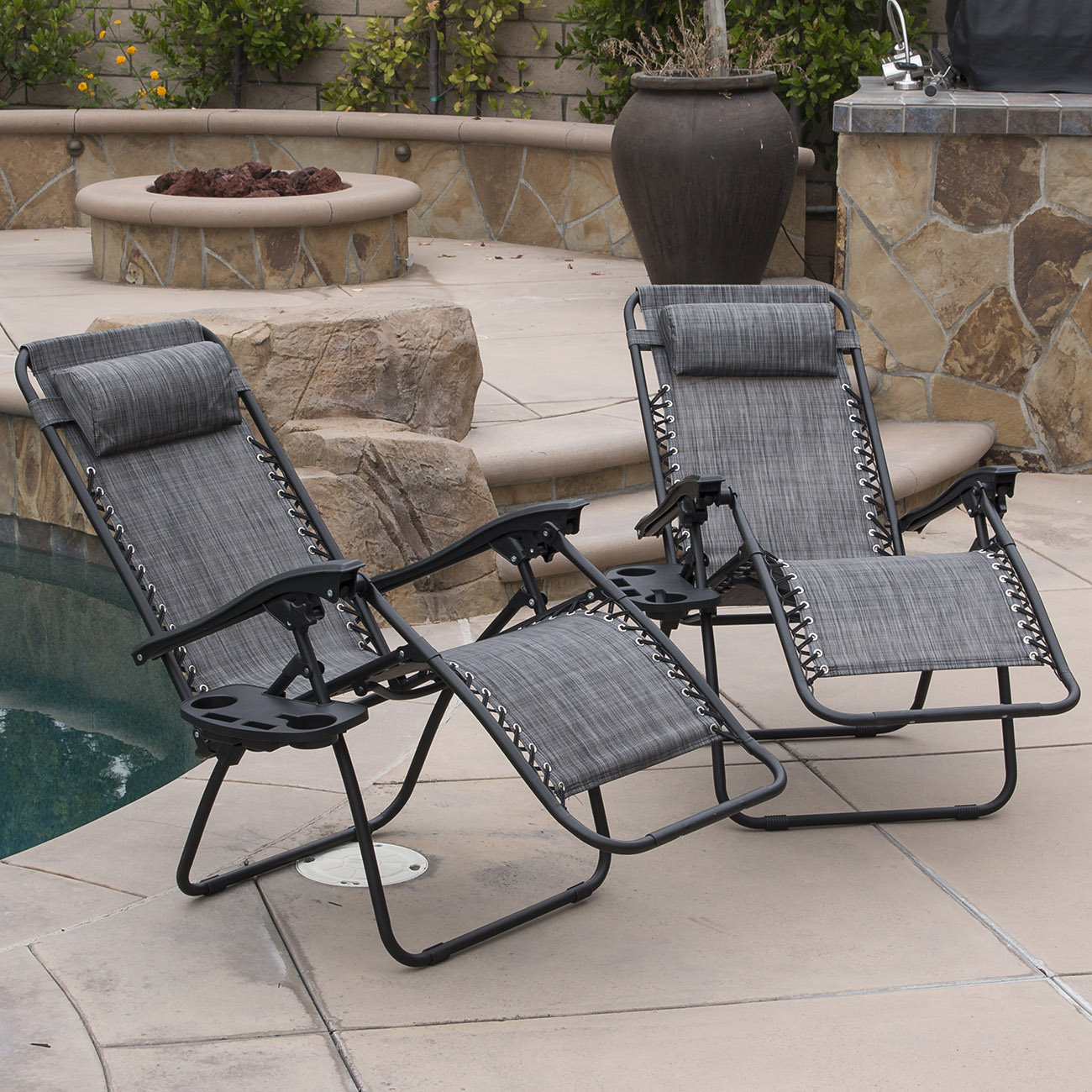 Folding outdoor lounge chair - 2 Lounge Chair Outdoor Zero Gravity Beach Patio Pool Yard Folding Recliner Gray