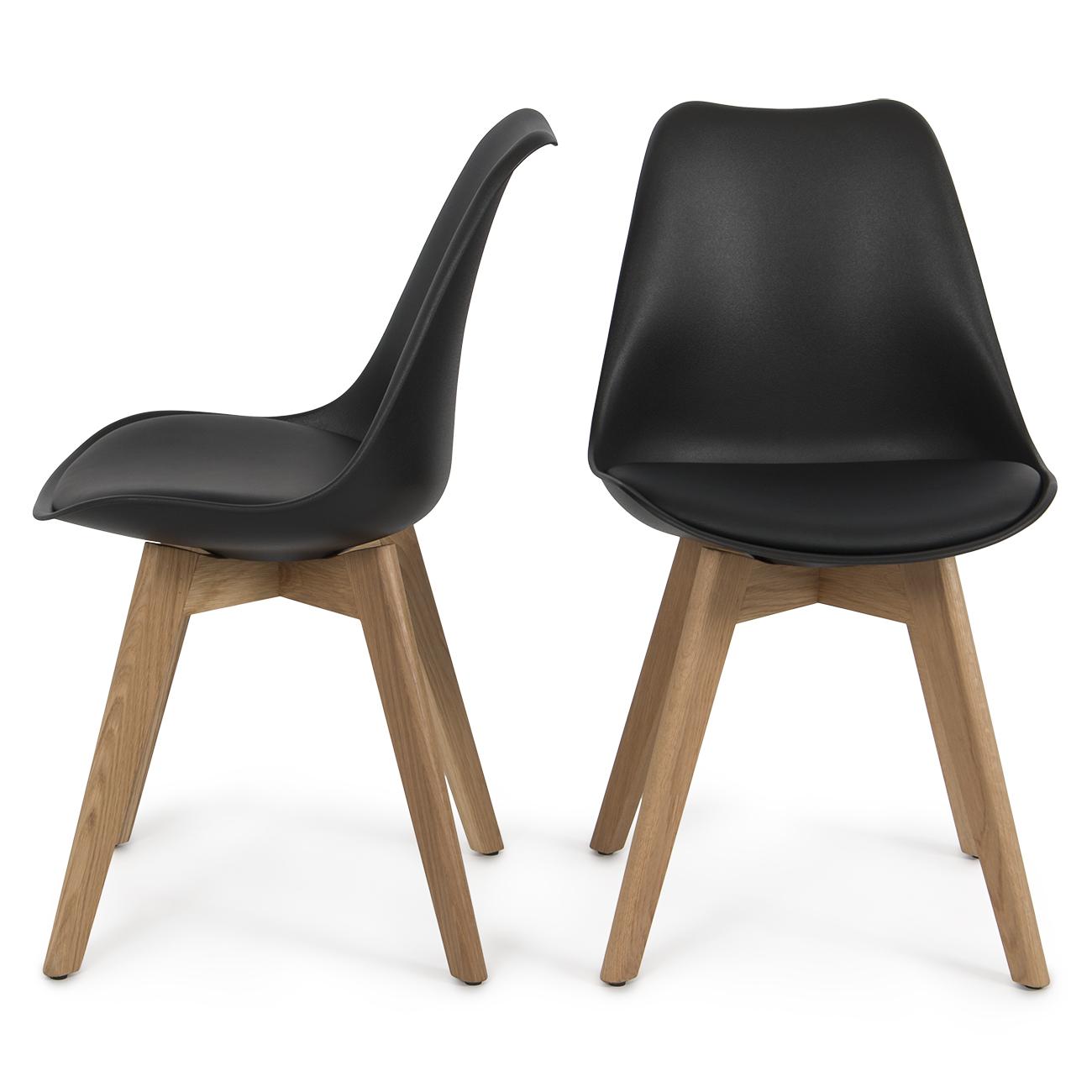 Set of 2 Modern DSW Molded Plastic Eiffel Wooden Leg Side Chairs w