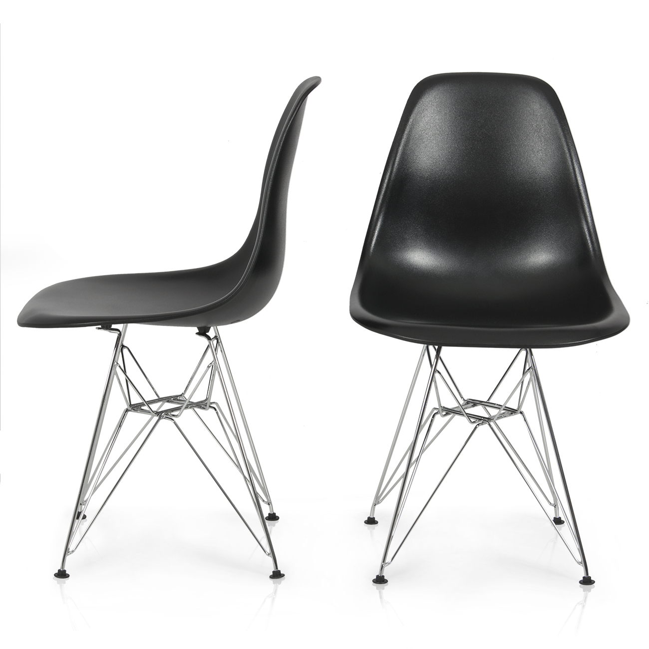 2x eames style dsw modern eiffel side chair molded abs plastic chairs wire base ebay. Black Bedroom Furniture Sets. Home Design Ideas