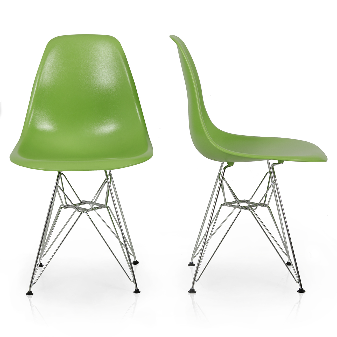 2x Style DSW Modern Eiffel Side Chair Molded ABS Plastic Chairs Wire
