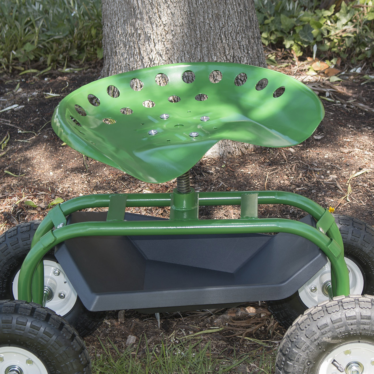 Garden Rolling Cart Chair W Tool Tray Swivel Seat Scooter
