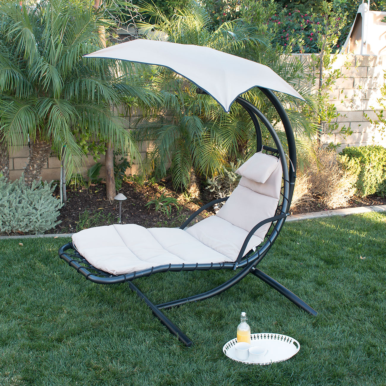 Hanging Chaise Lounge Chair Hammock Swing Canopy Glider