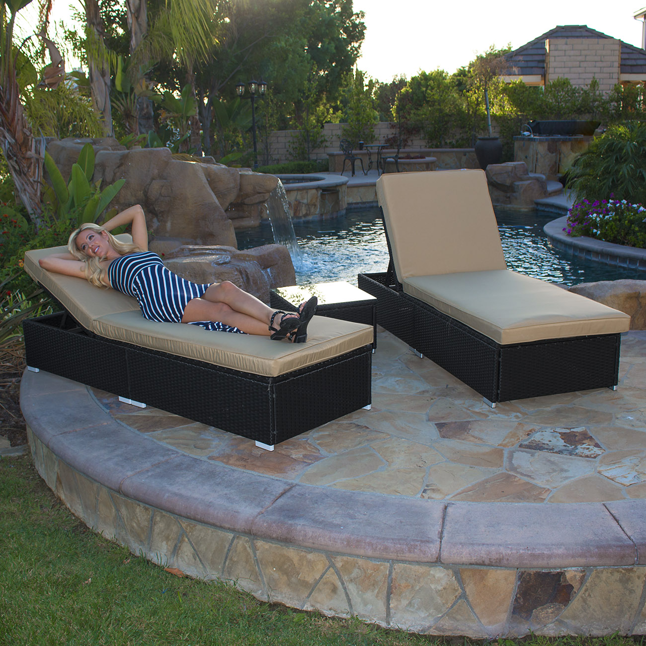 Belmont black wicker patio chaise lounge international for Belmont brown wicker patio chaise lounge