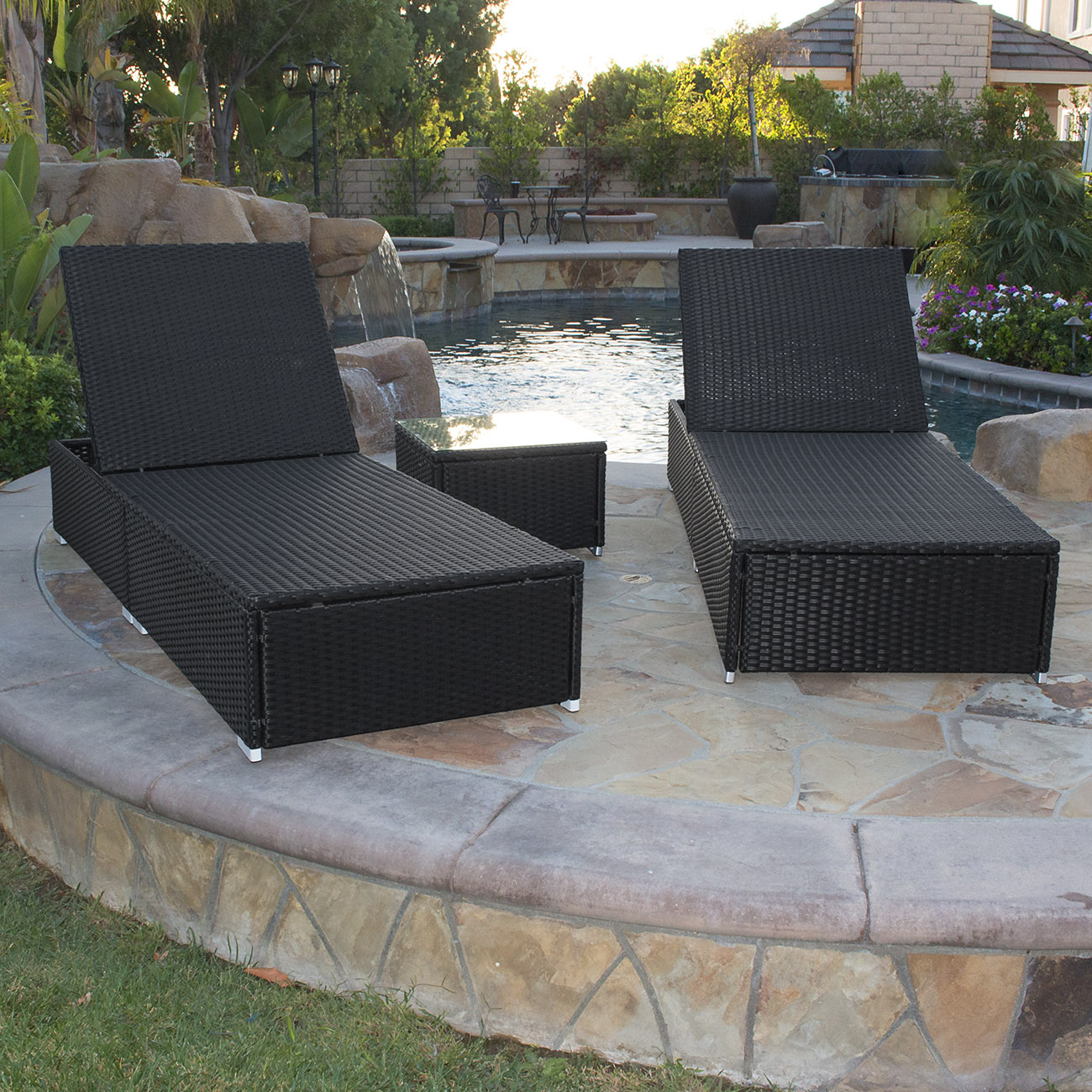3 piece wicker rattan chaise lounge chair set patio steel for Black outdoor wicker chaise