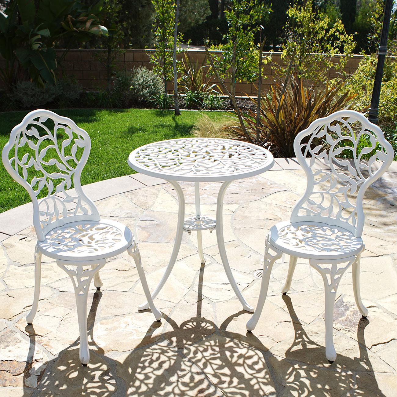 outdoor patio furniture 3pcs cast aluminum backyard bistro set in antique white ebay. Black Bedroom Furniture Sets. Home Design Ideas