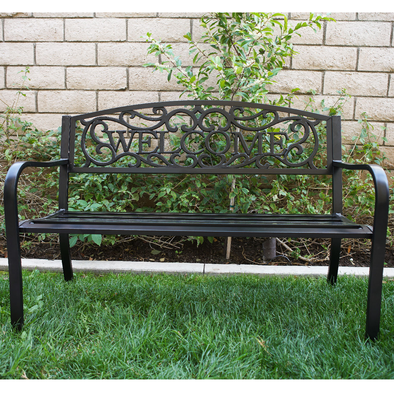 Wondrous Metal Patio Bench Slubne Suknie Info Customarchery Wood Chair Design Ideas Customarcherynet