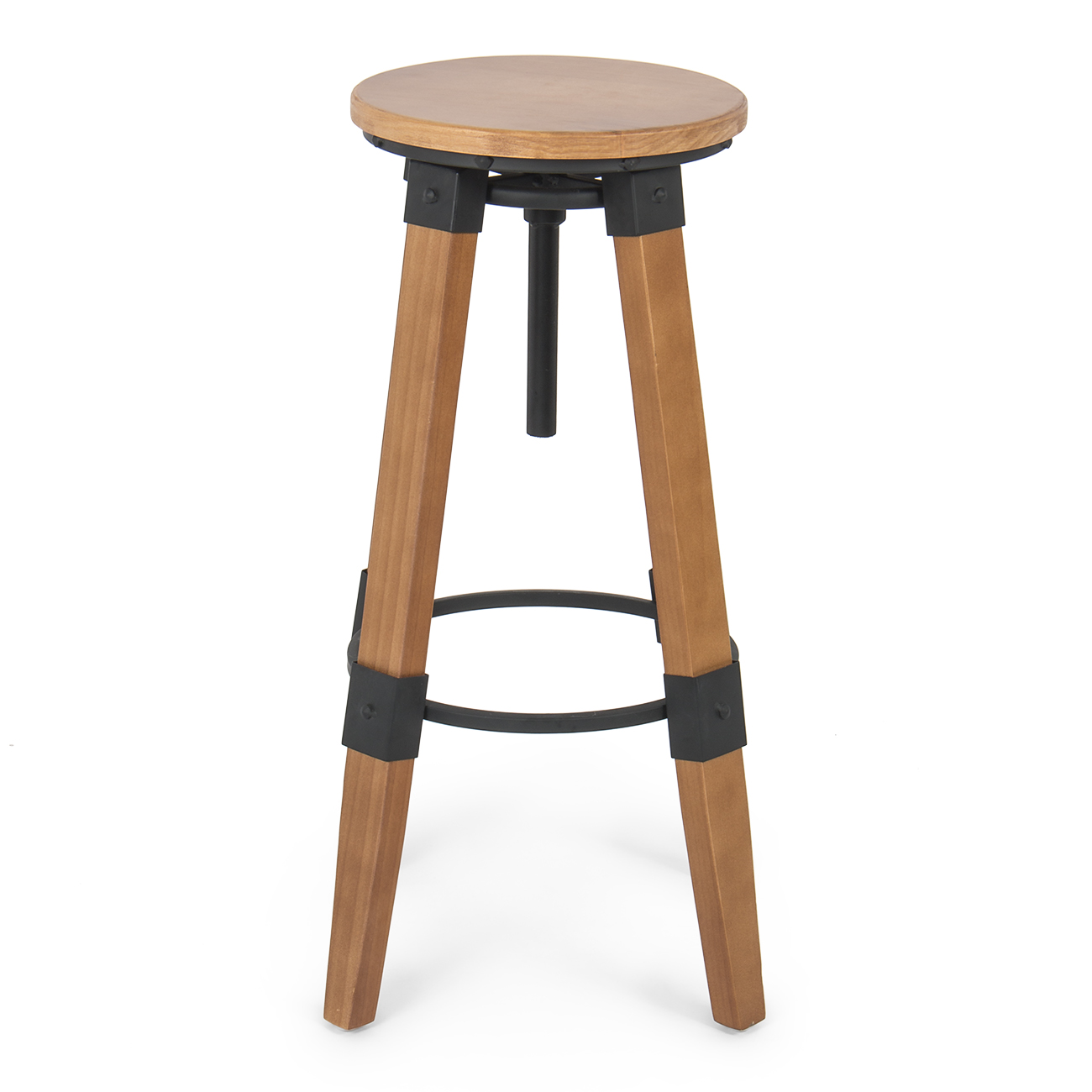 industrial bar stools swivel wood vintage adjustable counter seat height new ebay. Black Bedroom Furniture Sets. Home Design Ideas
