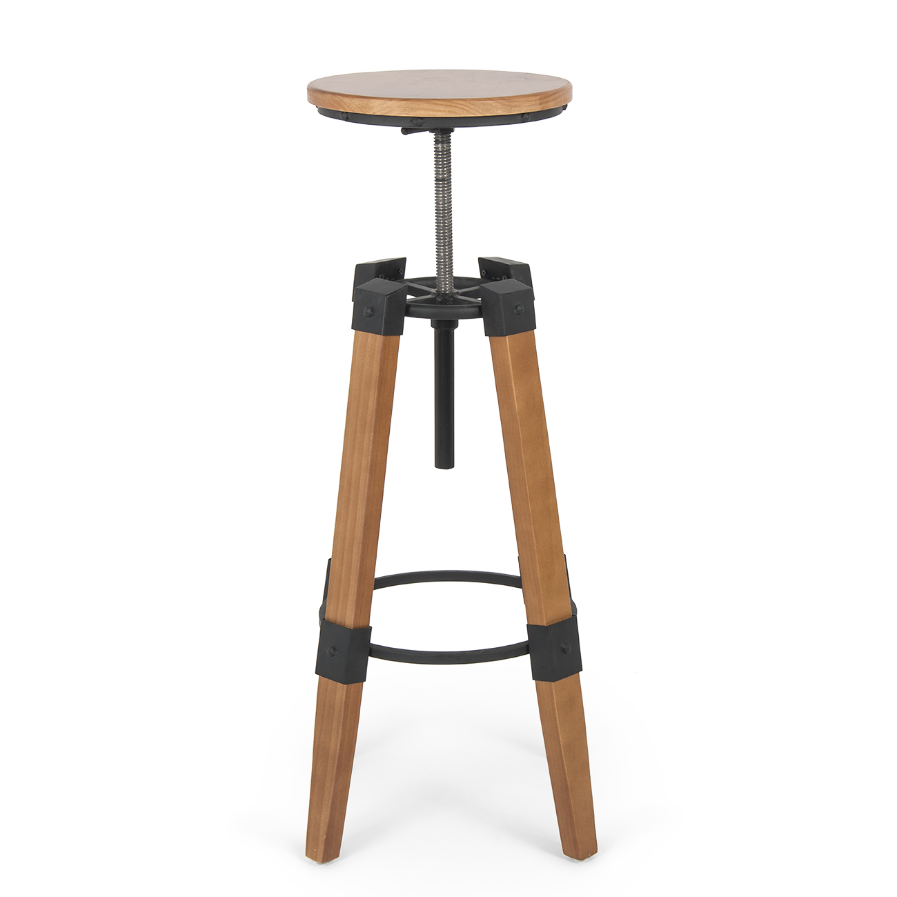Industrial Wood Adjustable Seat Barstool High Chair: Industrial Bar Stools Swivel Wood Vintage Adjustable