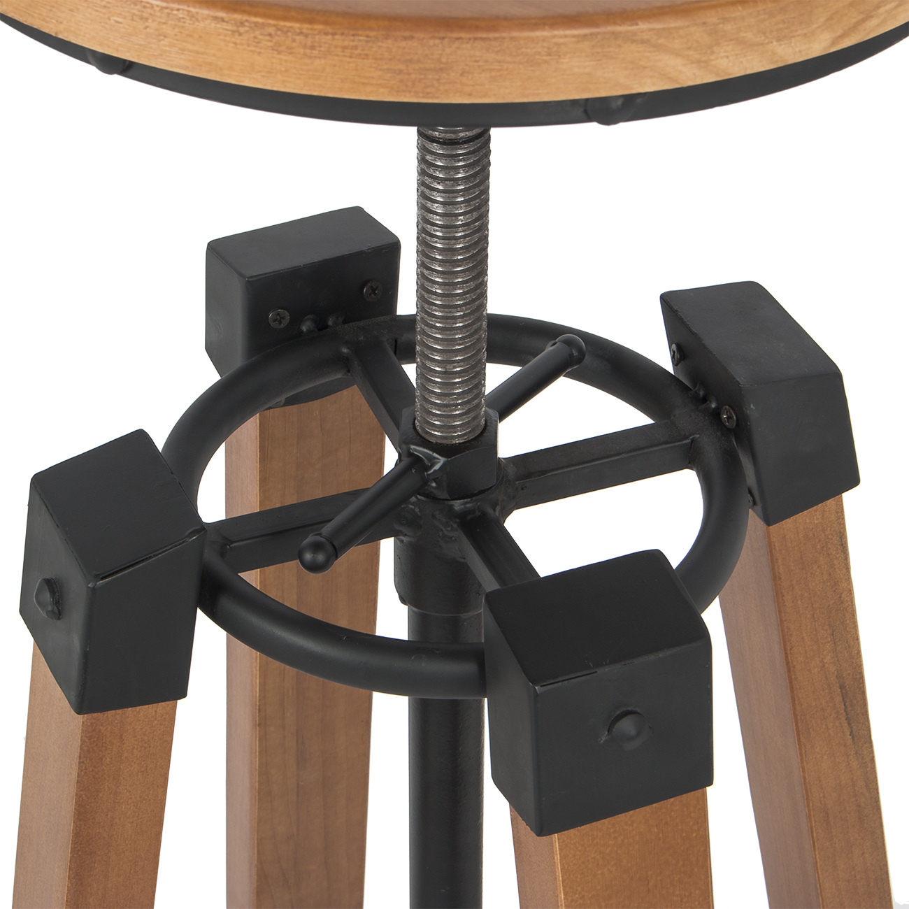 Industrial Bar Stools Swivel Wood Vintage Adjustable