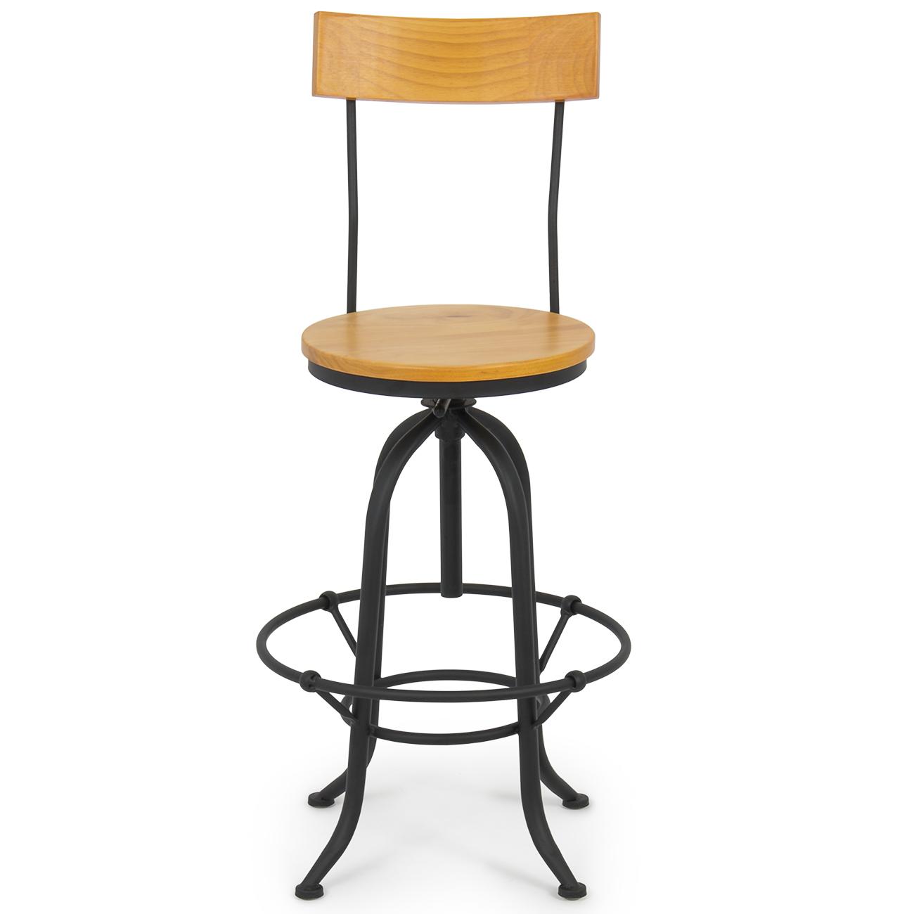 Vintage Bar Stool W Back Swivel Adjustable Seat Height