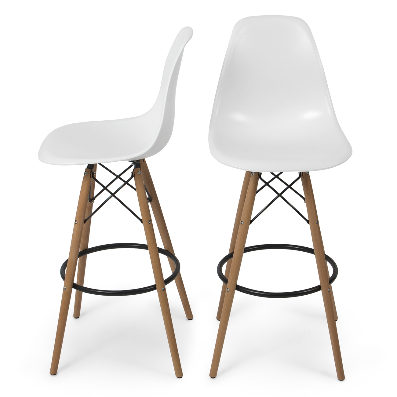 set of 2 modern eames style dsw bar stool side chair mid century wood leg white ebay. Black Bedroom Furniture Sets. Home Design Ideas
