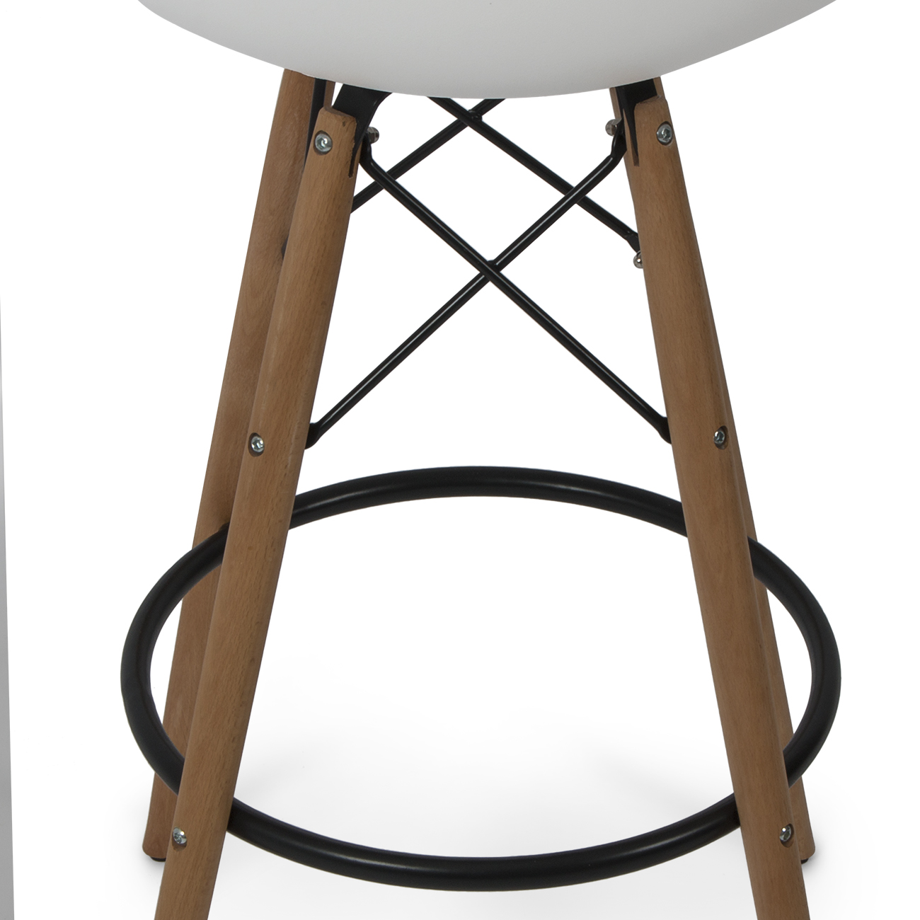 eames style dsw bar stool side chair mid century wood leg white ebay