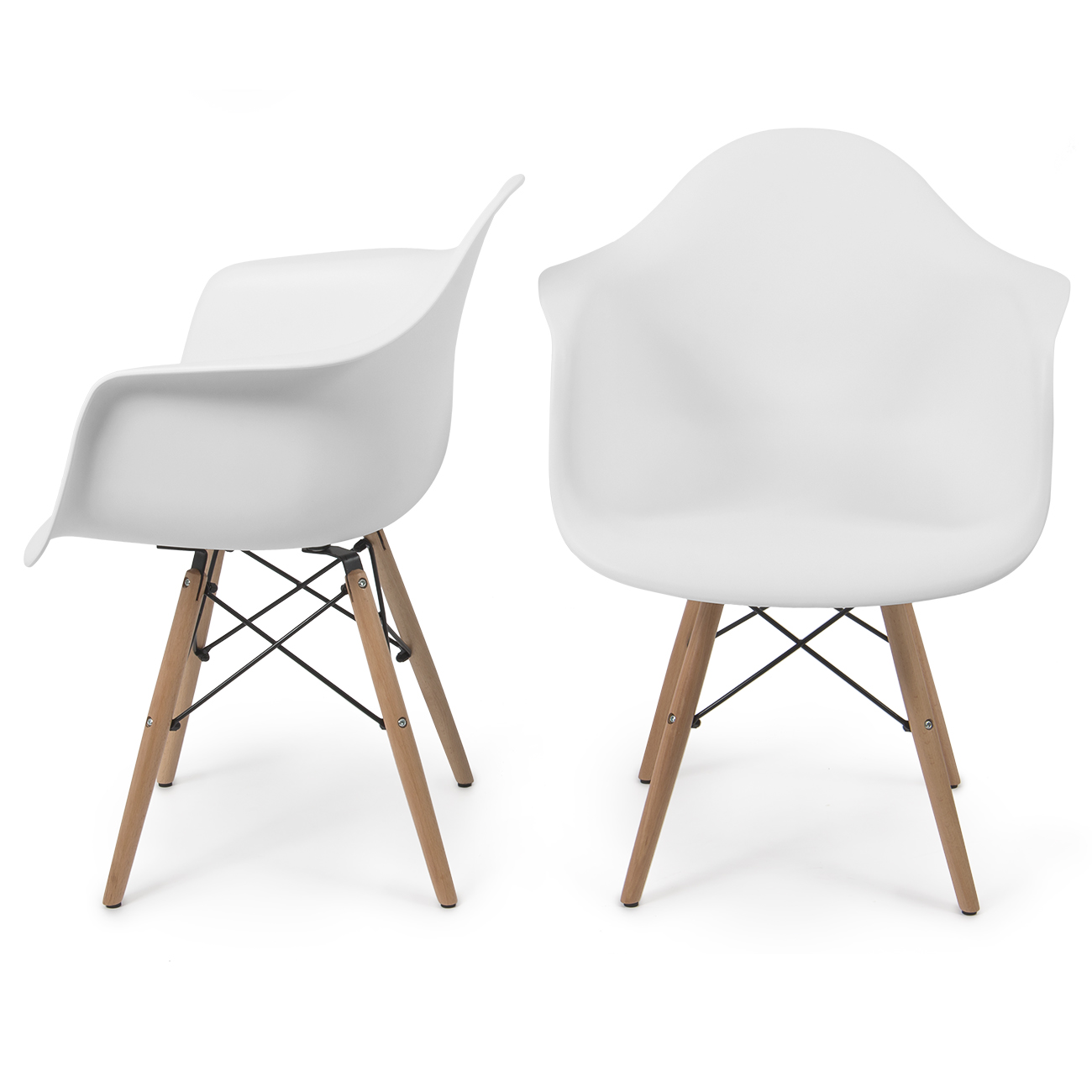 Set Of 2 Mid Century Style White Arm Armchair Chair