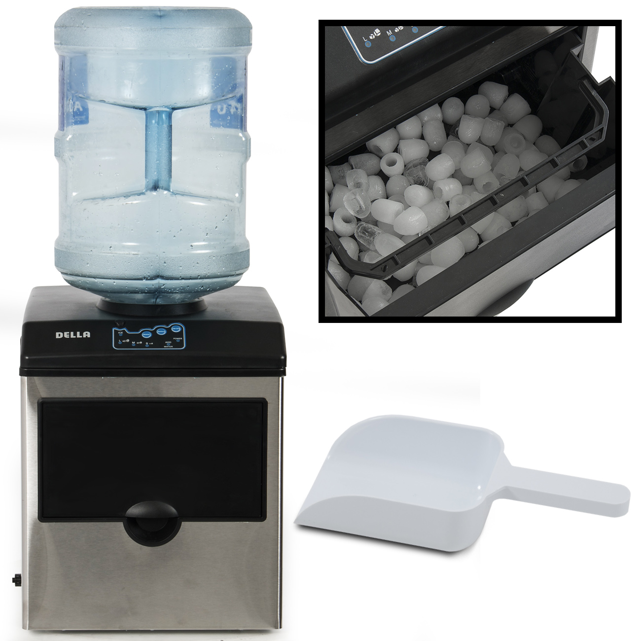 Portable Water Dispenser W/ Built In Ice Maker Machine Counter Stainless  Steel