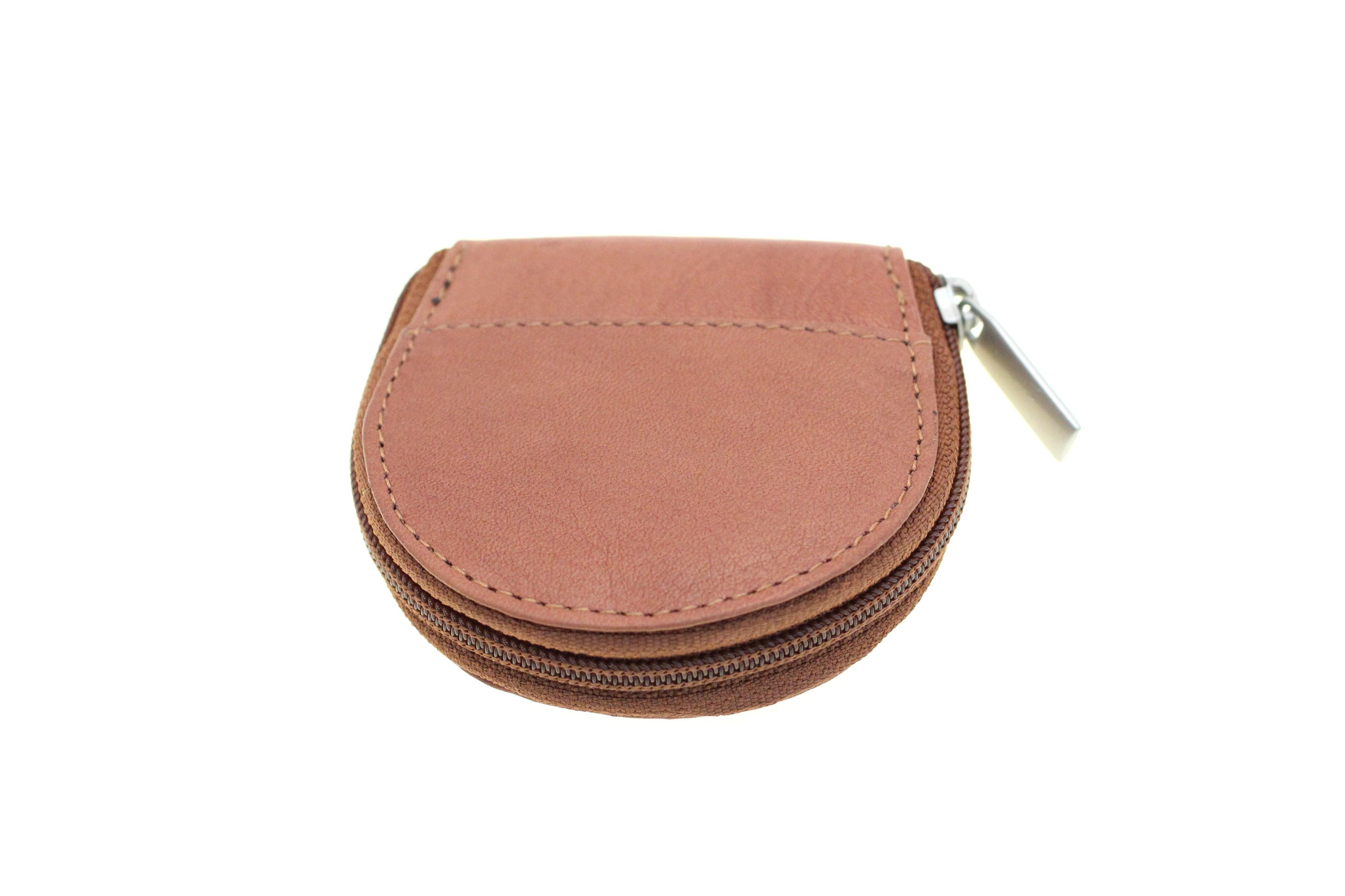 Women Coin Purse Change Pouch Genuine Leather Round Zipper