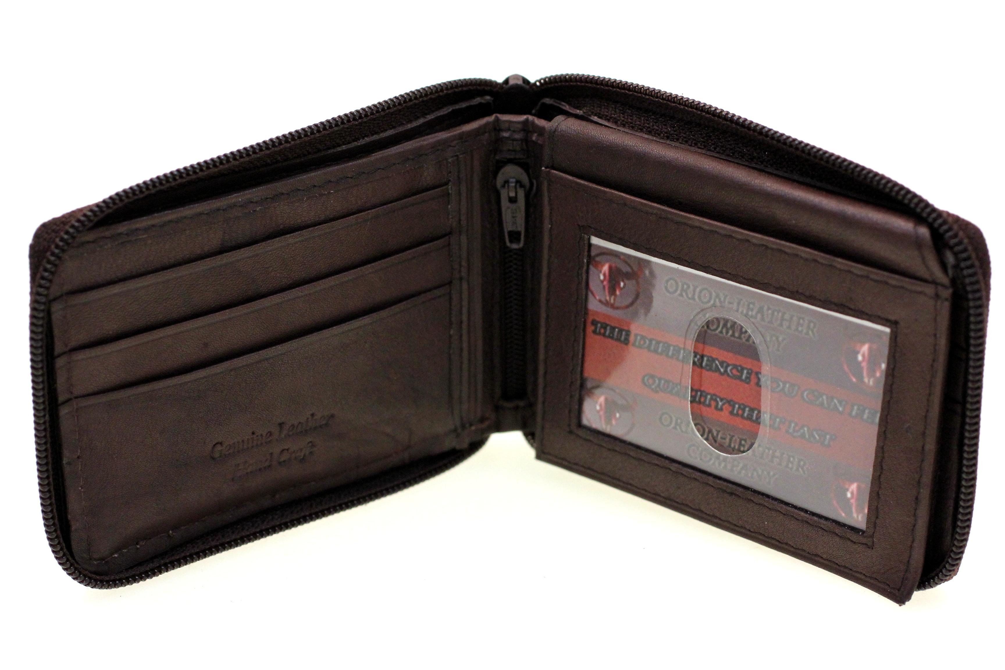 Mens Bifold Wallet Zipper Closed Zip Around Flap Up ...