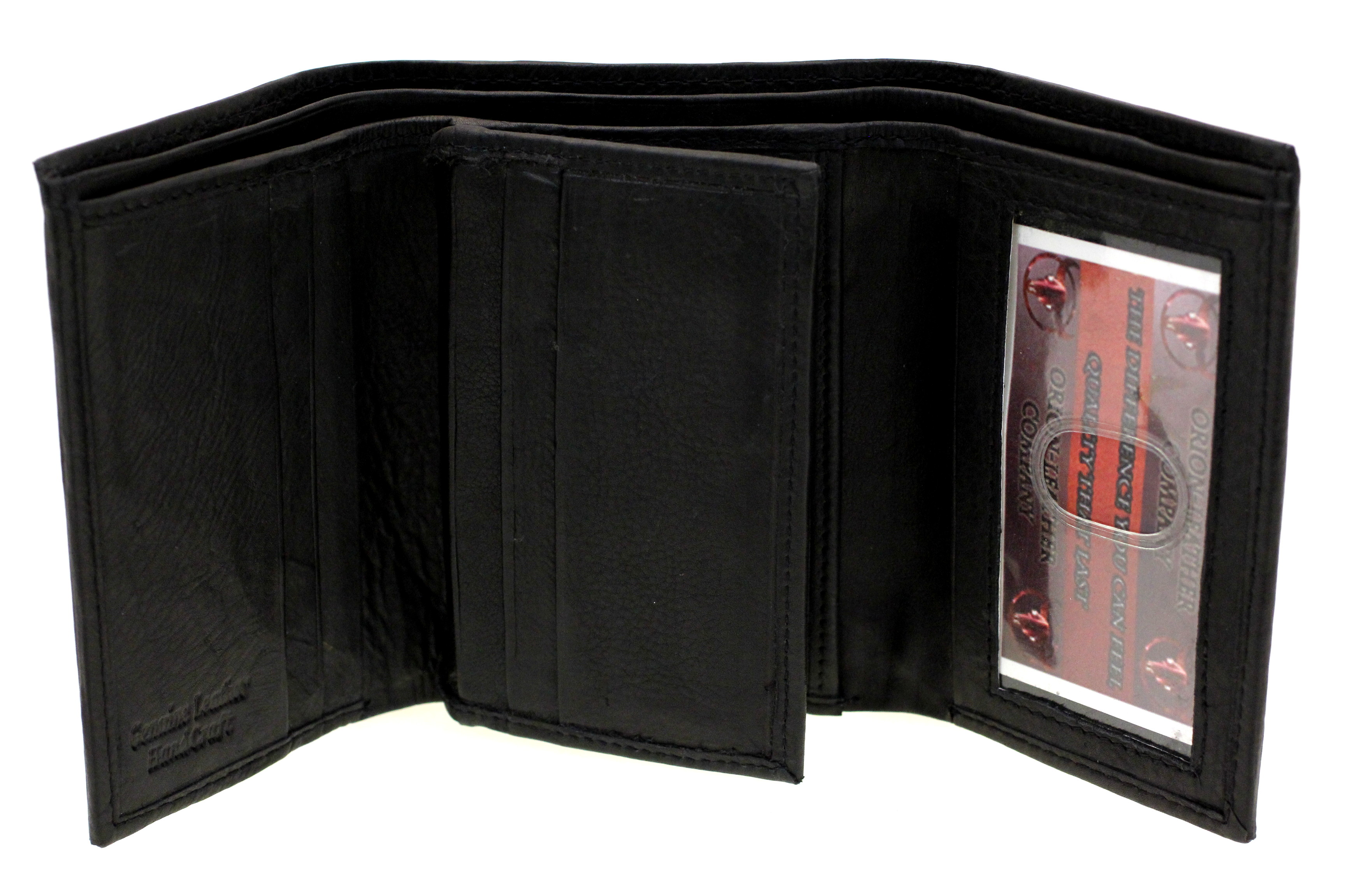 mens wallet trifold tall genuine leather center flap 9 card