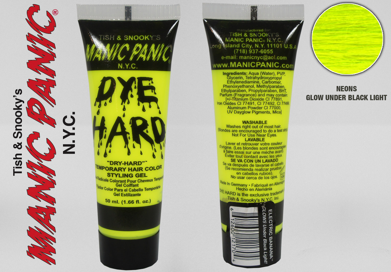 Choose Your Manic Panic Dye Hard Temporary Hair Color Styling Gel