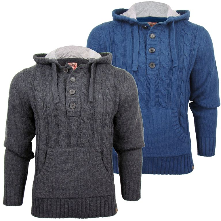 Tokyo Laundry Mens Cable Knitted Hoodie/ Hooded Button ...