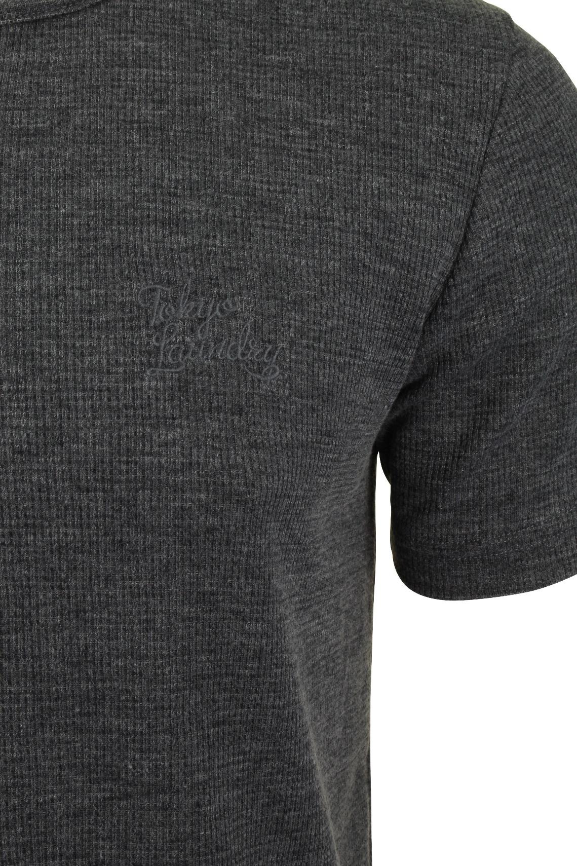 Mens-Tokyo-Laundry-Grandad-T-Shirt-Waffle-Burn-Out-Fabric thumbnail 4