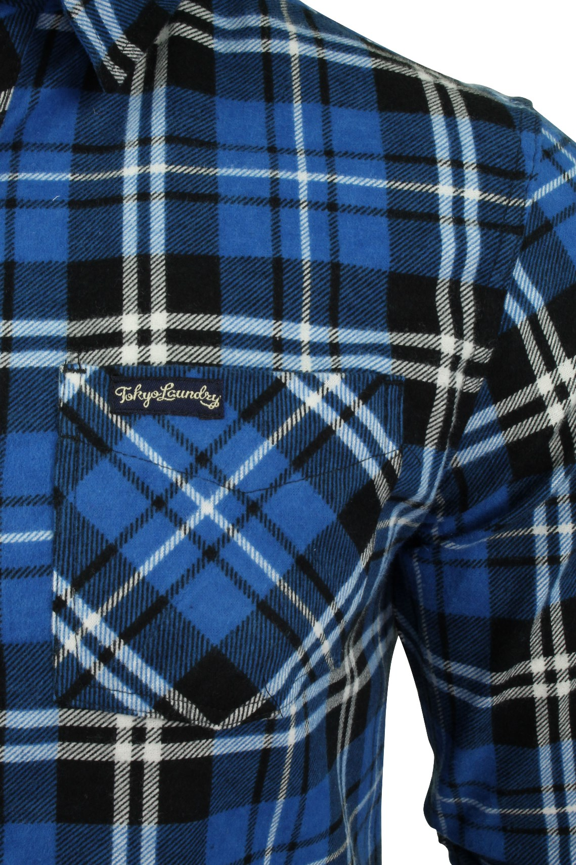 411445383a Mens Printed Flannel Checked Shirt Washed by Tokyo Laundry 'Dieppe ...