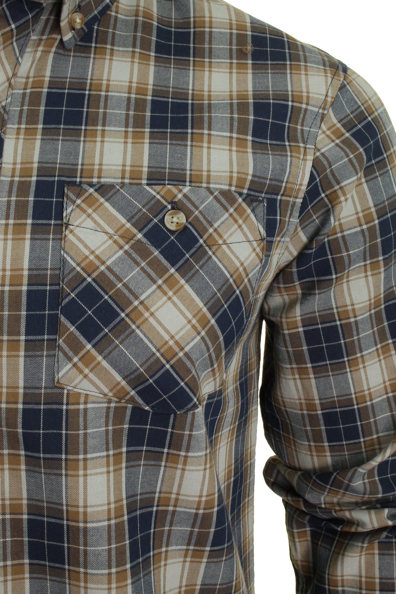 Da-Uomo-Tokyo-Laundry-Camicia-Twill-Check-039-Roma-039-a-maniche-lunghe