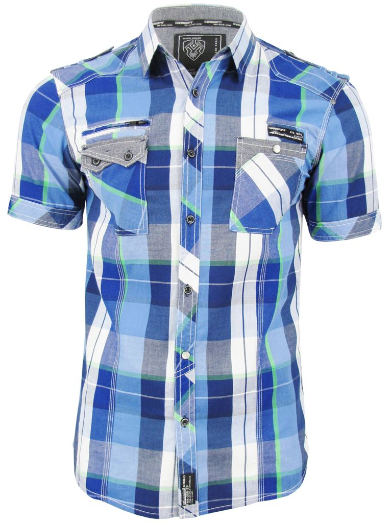 Mens-Dissident-Short-Sleeved-Fashion-Check-Shirt-039-Keefer-039