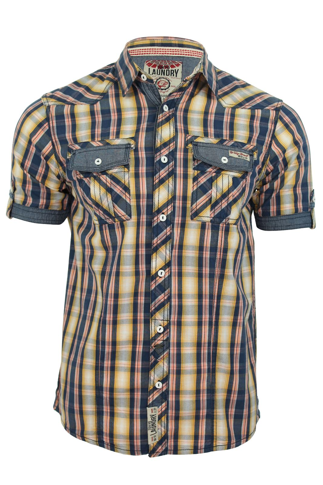 Tokyo-Laundry-Mens-Shirt-039-Austin-039-Checked-with-Chambray-Trims-Short-Sleeved