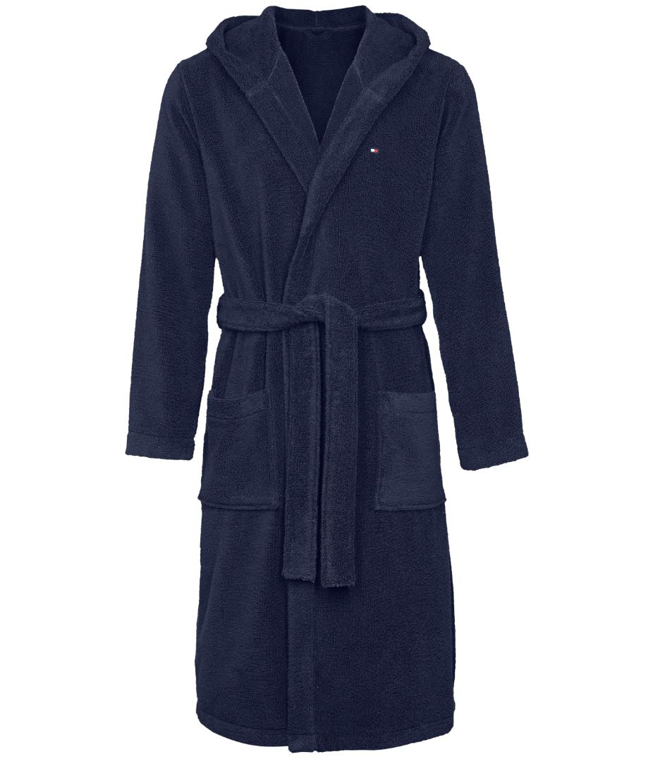 Mens Tommy Hilfiger Icon Hooded Bathrobe Dressing Gown Micro Cotton Towelling Ebay