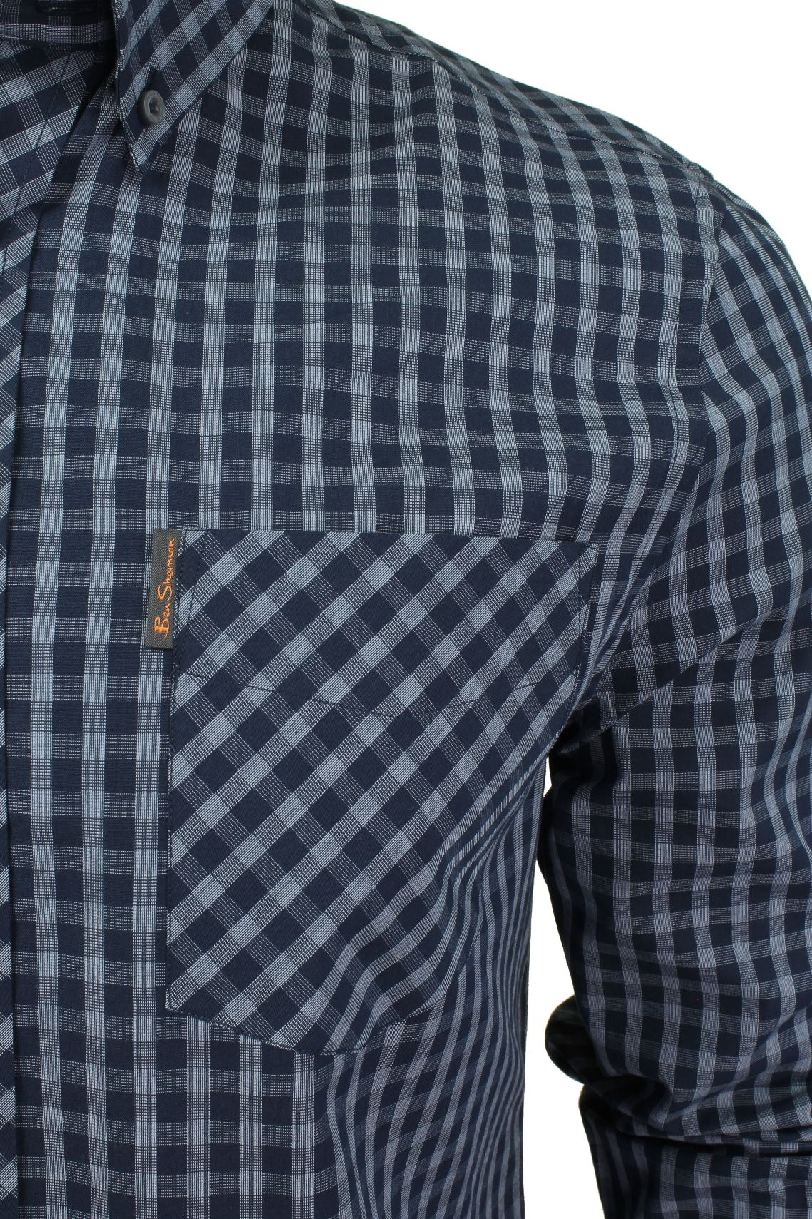 Mens-Windowpane-Check-Shirt-by-Ben-Sherman-Long-Sleeved thumbnail 4