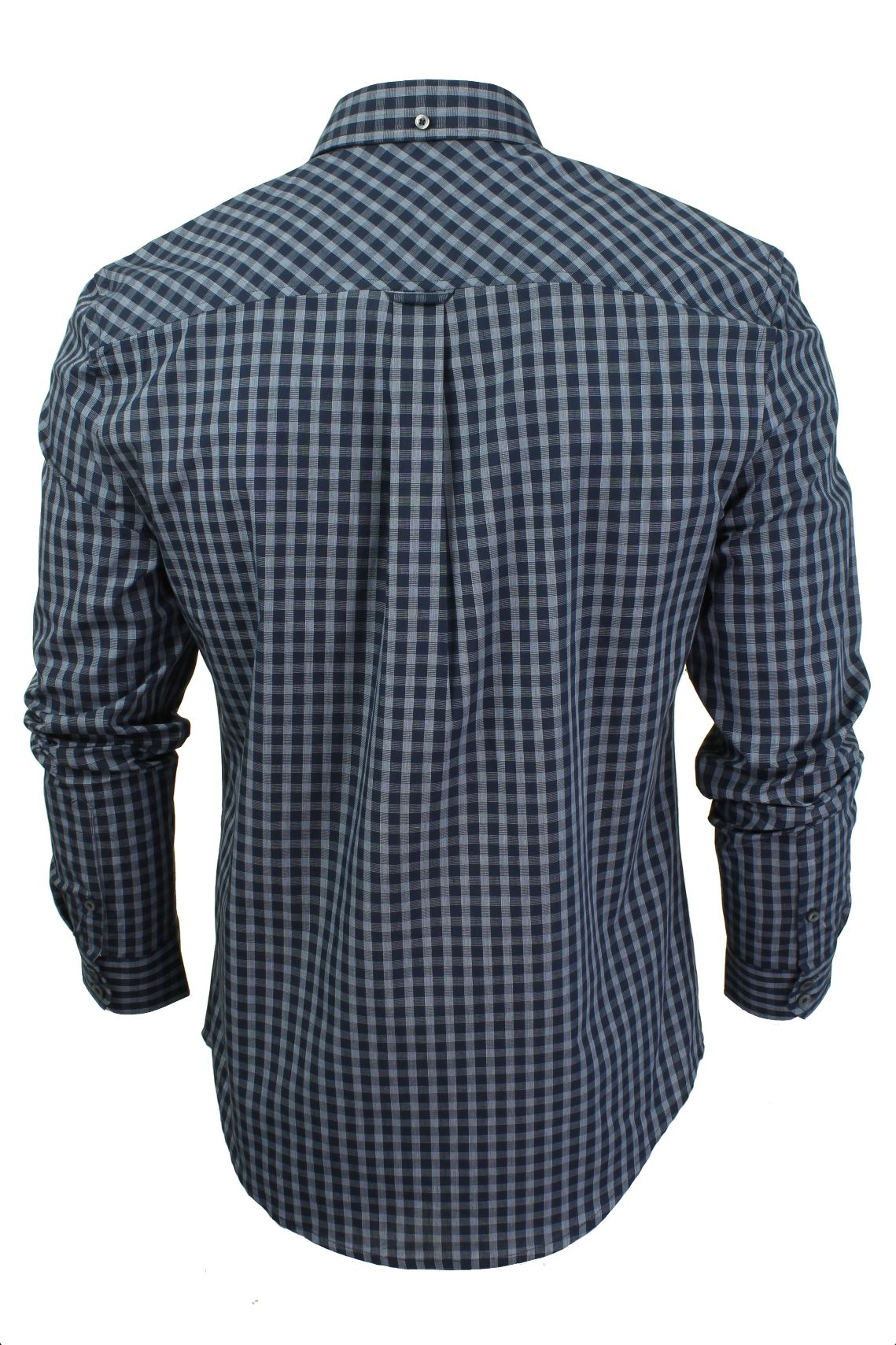 Mens-Windowpane-Check-Shirt-by-Ben-Sherman-Long-Sleeved thumbnail 5