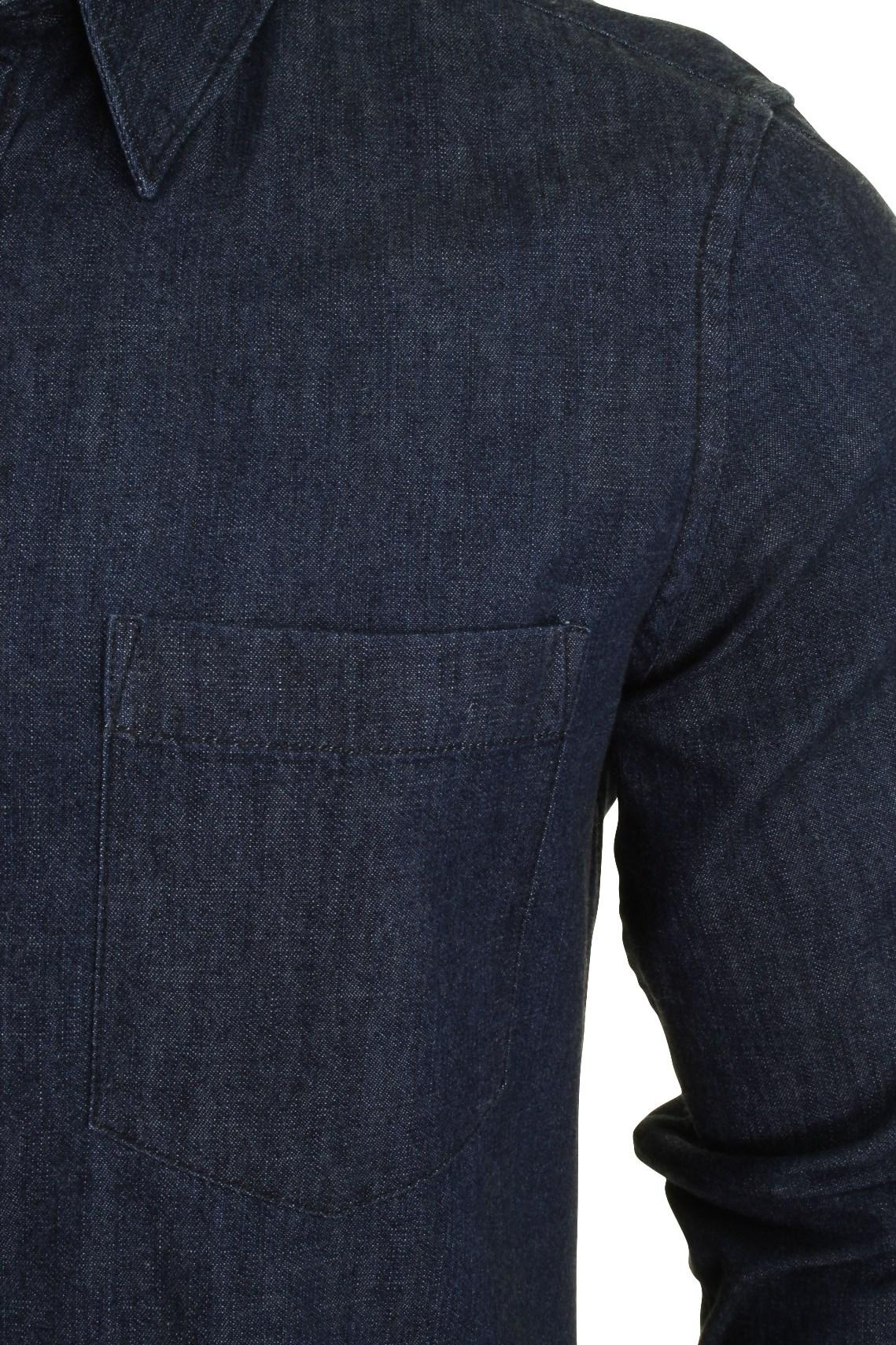 French-Connection-Mens-Denim-Shirt-Long-Sleeved thumbnail 3