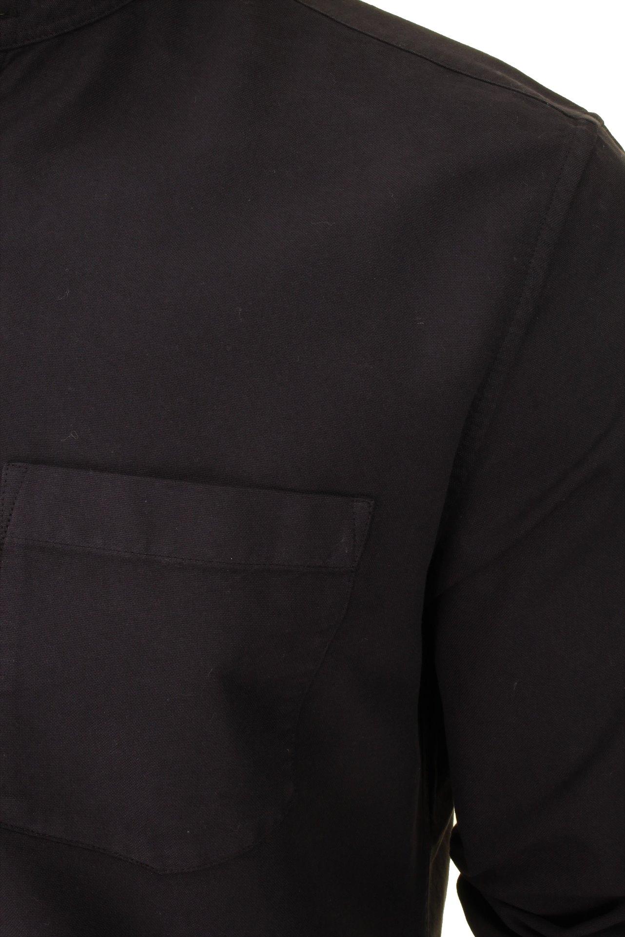 French-Connection-Mens-Oxford-Grandad-Shirt-Long-Sleeved thumbnail 3