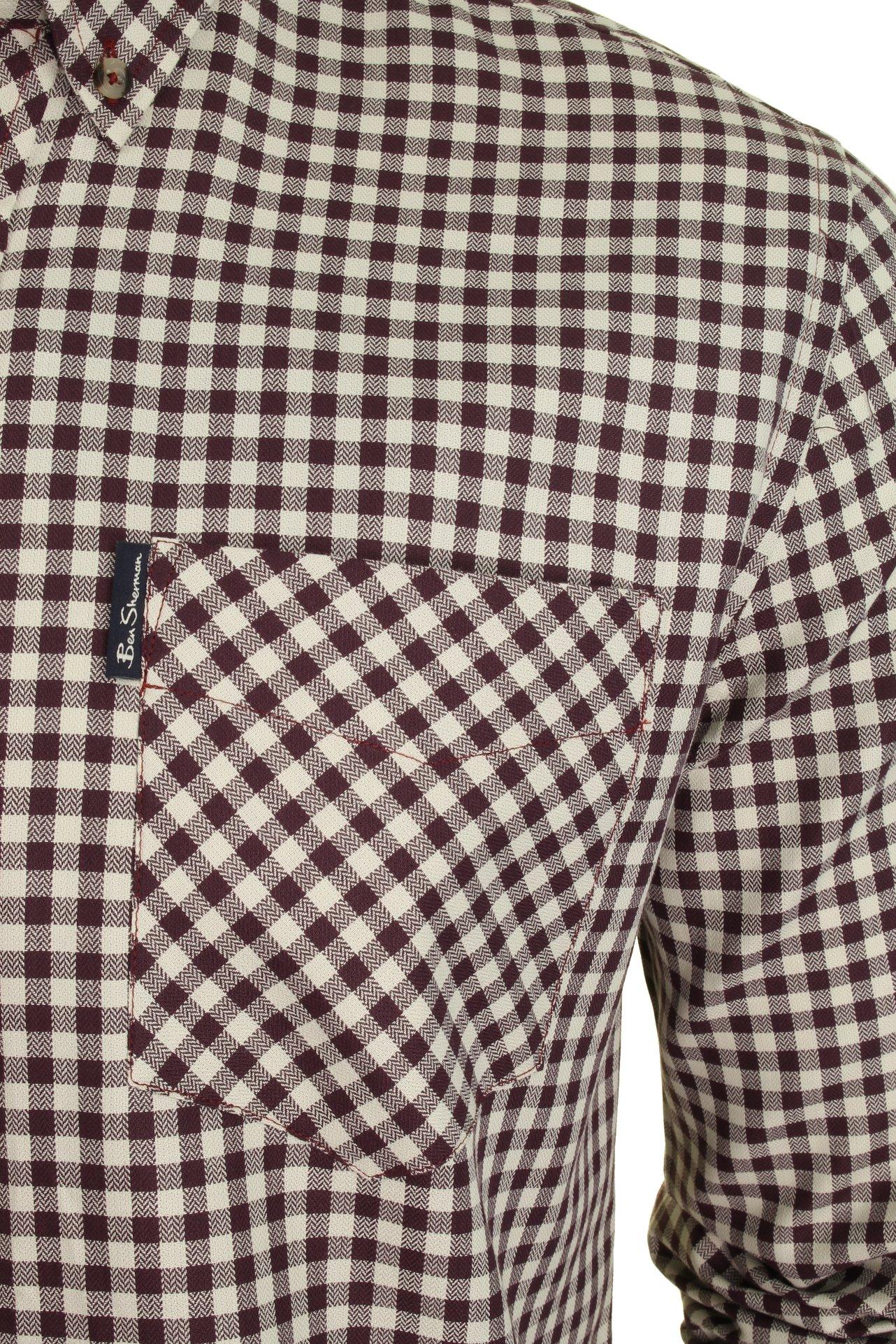 Mens-Ben-Sherman-Long-Sleeved-Shirt-Brushed-Gingham-Check thumbnail 7