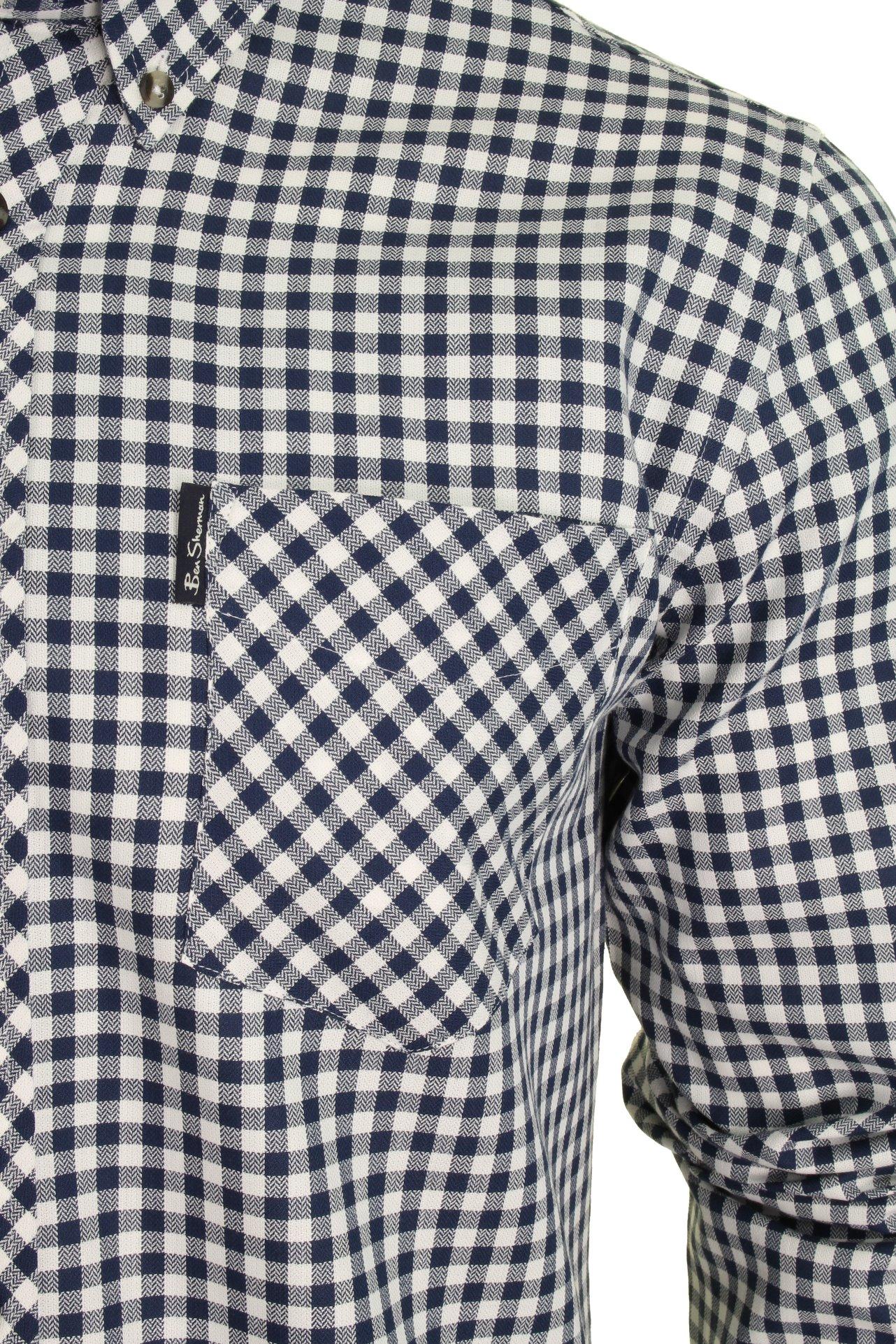 Mens-Ben-Sherman-Long-Sleeved-Shirt-Brushed-Gingham-Check thumbnail 4