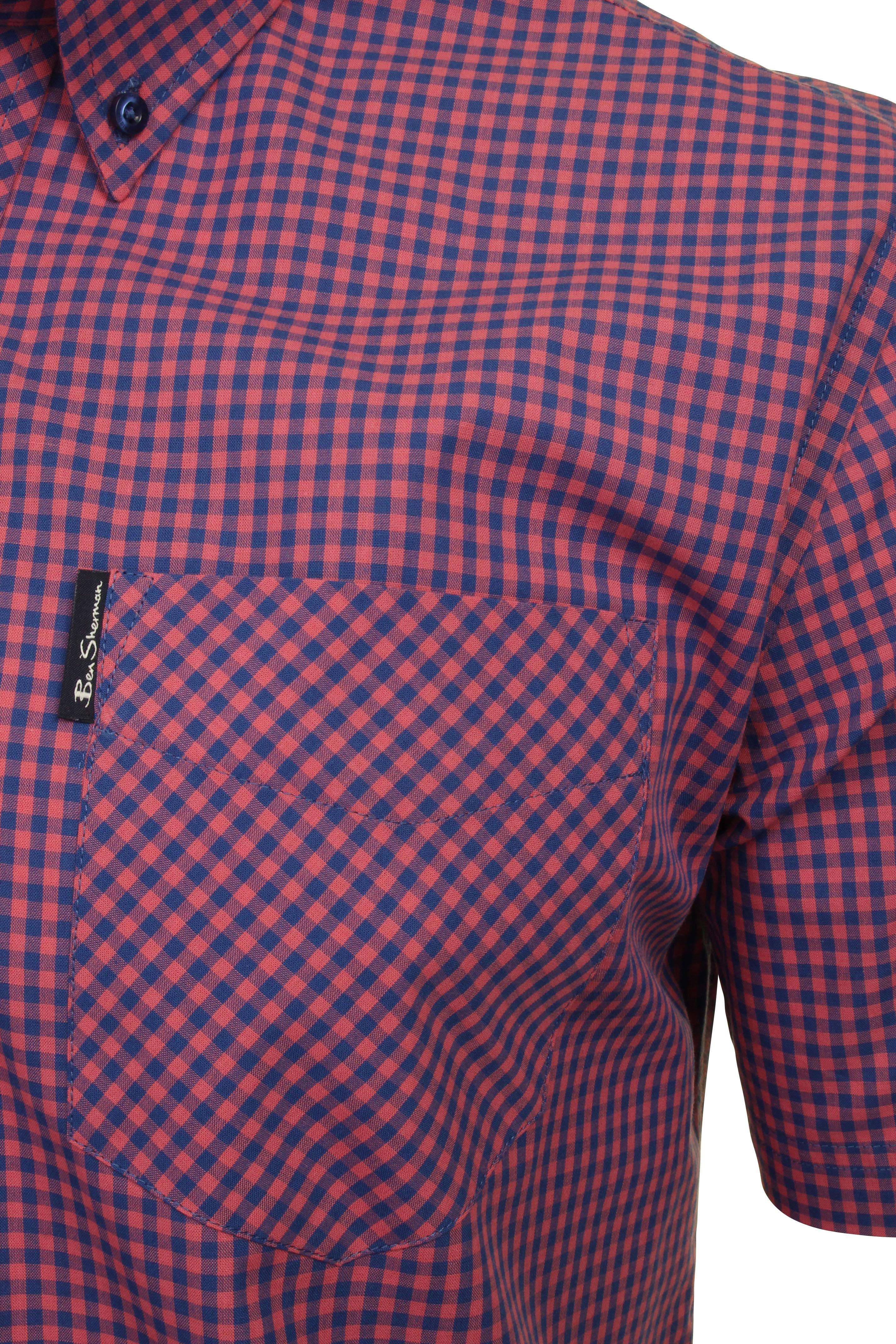 Ben-Sherman-Mens-Short-Sleeved-Gingham-Check-Shirt thumbnail 7