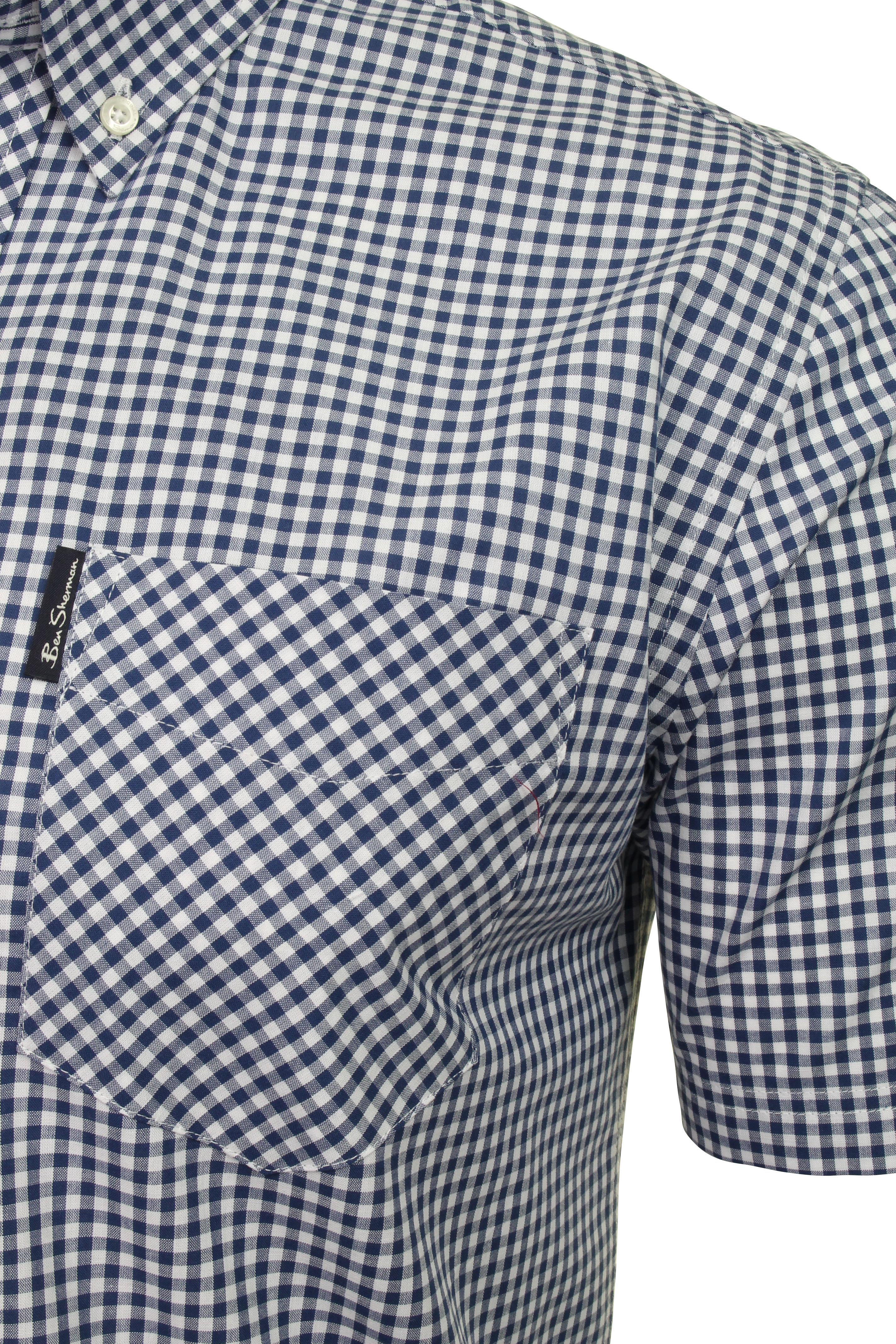 Ben-Sherman-Mens-Short-Sleeved-Gingham-Check-Shirt thumbnail 4