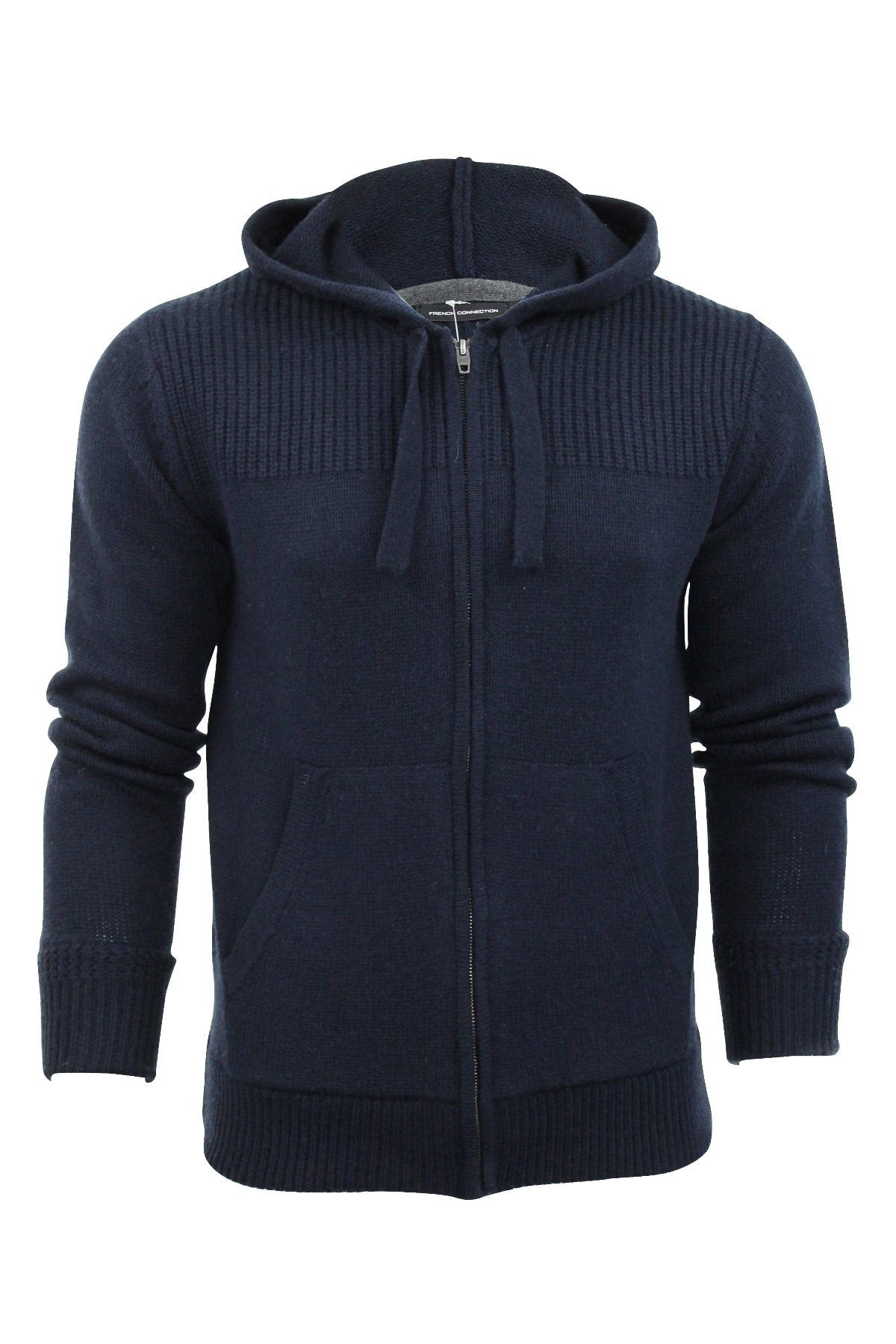 Mens Zip Thru Cardigan Hoodie French Connection FCUK Wool Mix ...