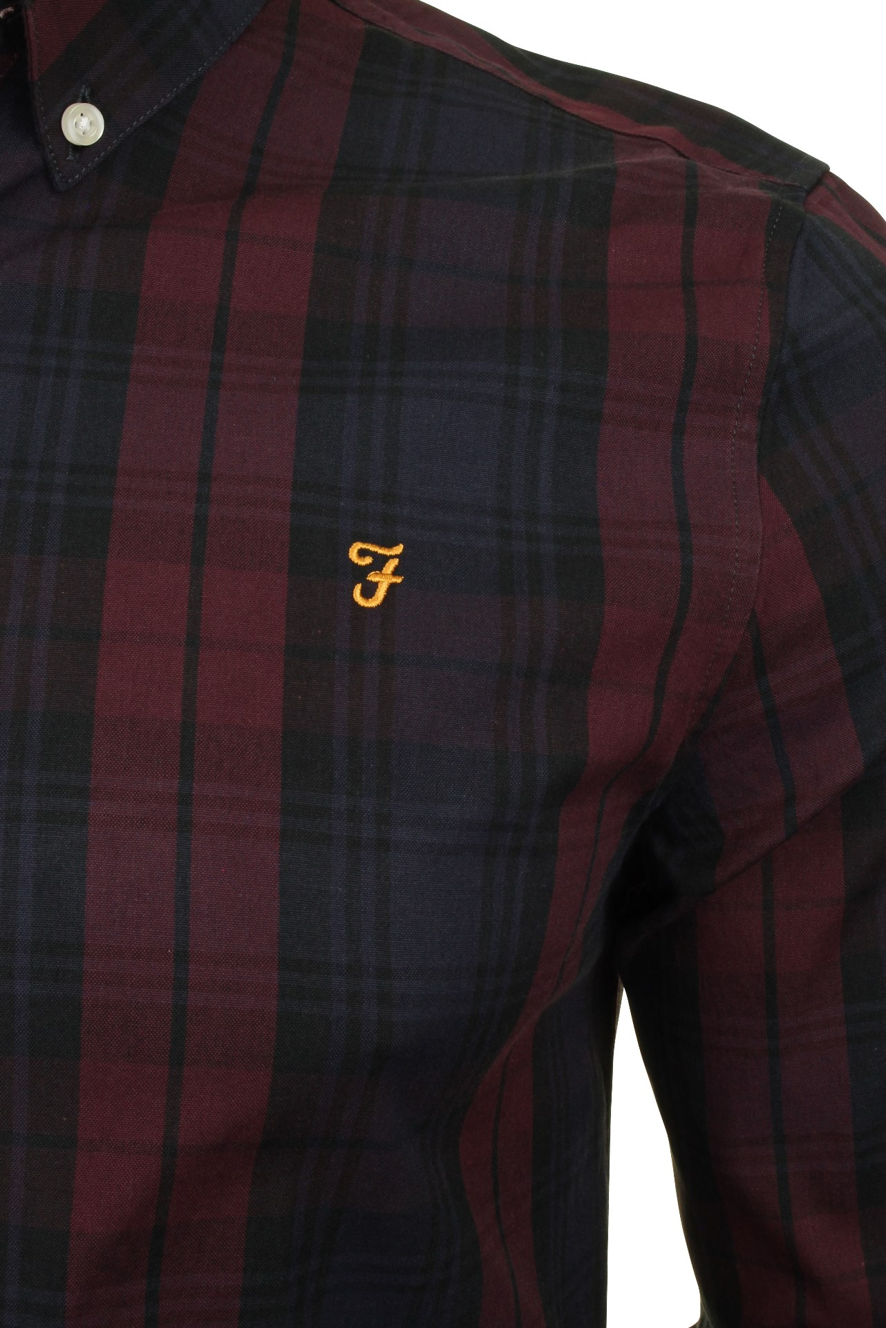 Farah-Mens-Check-Shirt-039-Brewer-Blackwatch-039-Long-Sleeved thumbnail 7