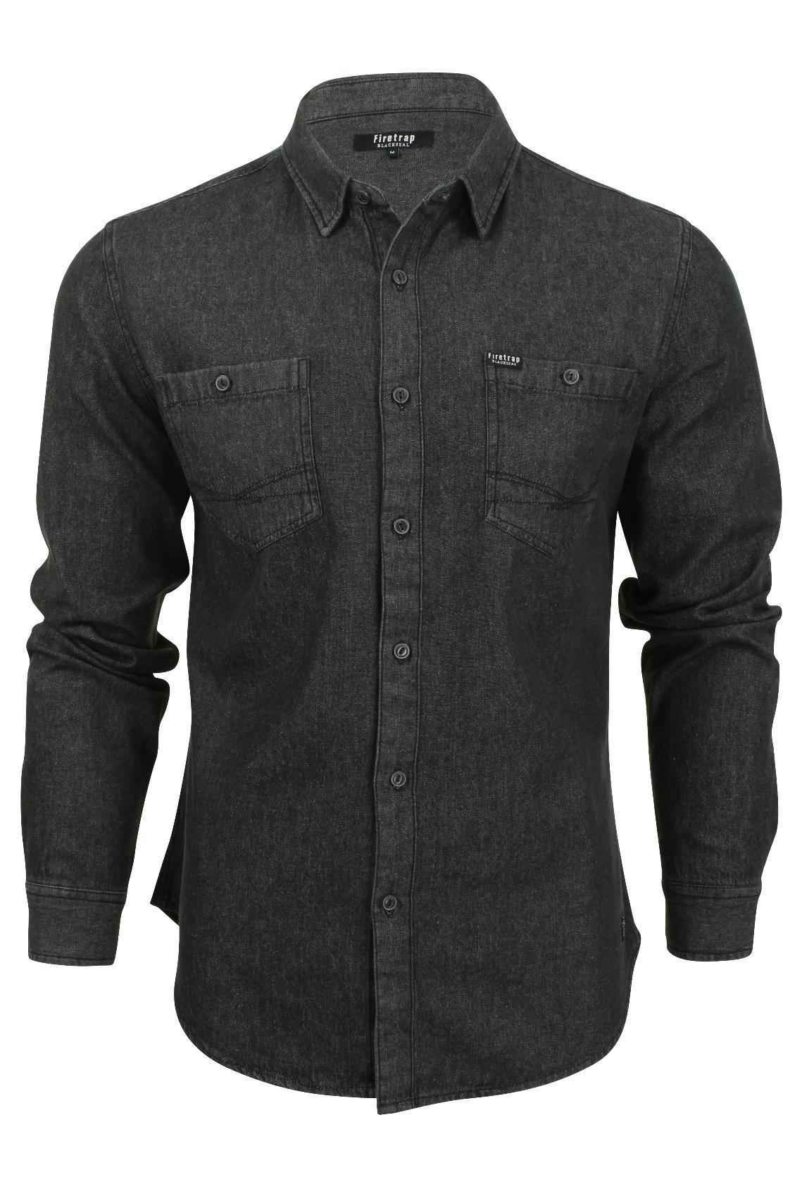 Mens Denim Shirt Firetrap 'Garrick' Western Vintage Wash ...