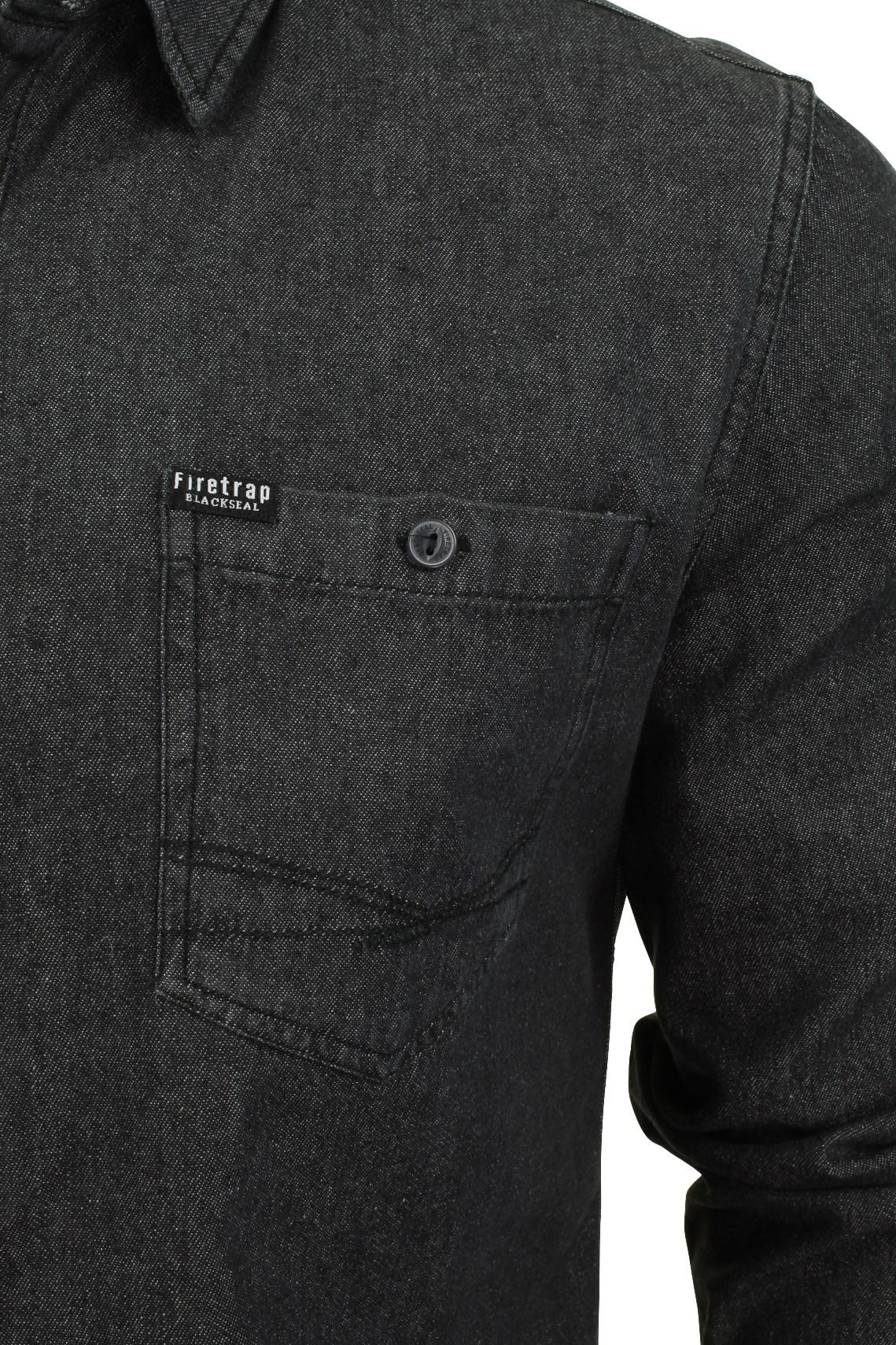 Para-Hombres-Camisa-De-Mezclilla-por-Firetrap-Western-Lavado-Vintage-Manga-Larga miniatura 15