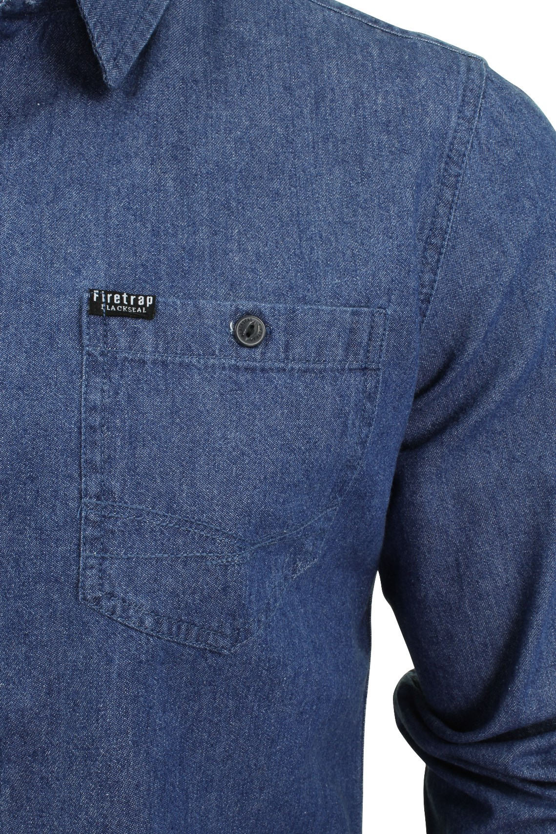 Para-Hombres-Camisa-De-Mezclilla-por-Firetrap-Western-Lavado-Vintage-Manga-Larga miniatura 21
