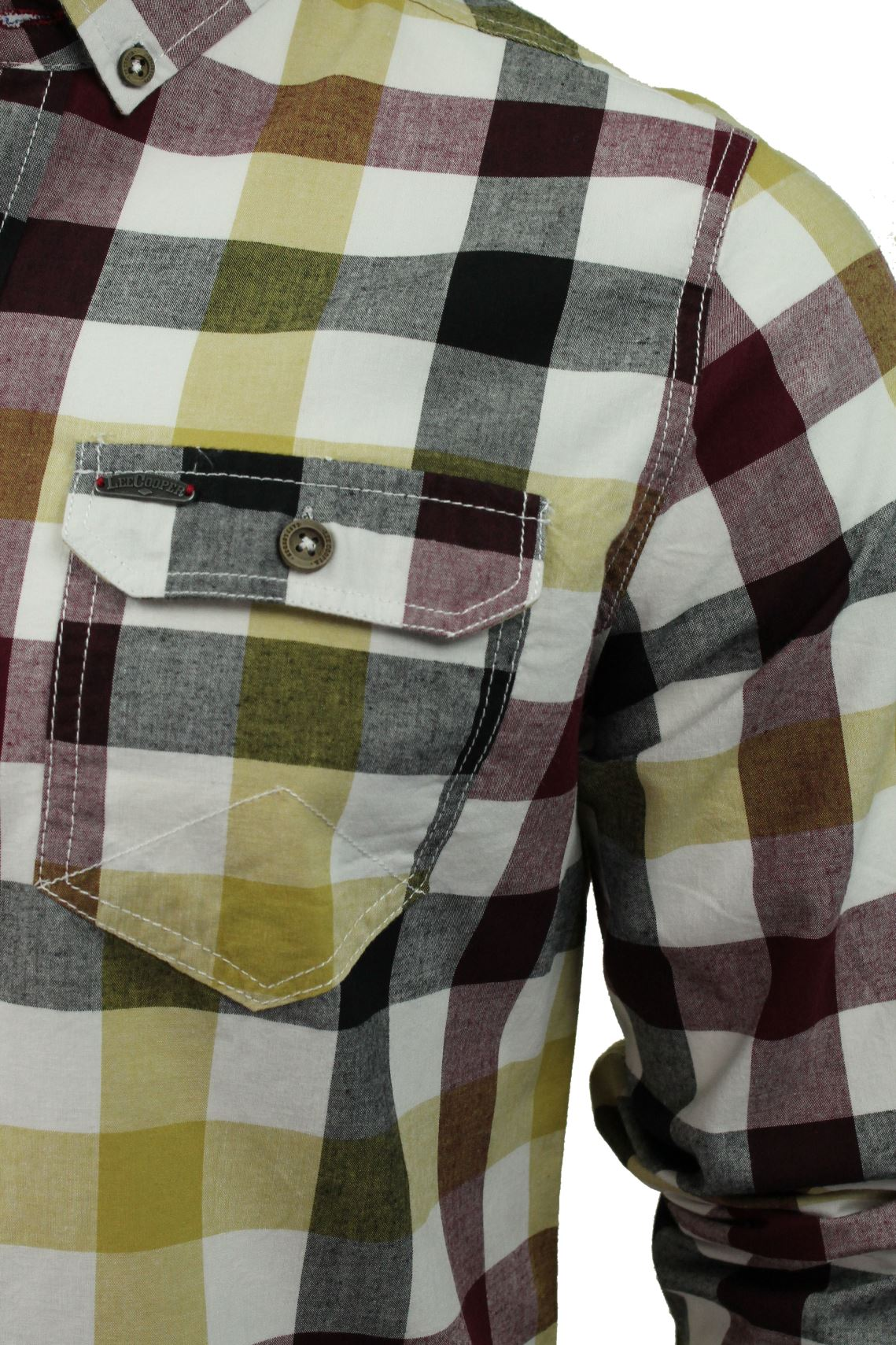 Mens-Check-Shirt-by-Lee-Cooper-039-Hadleigh-039-Long-Sleeved thumbnail 7