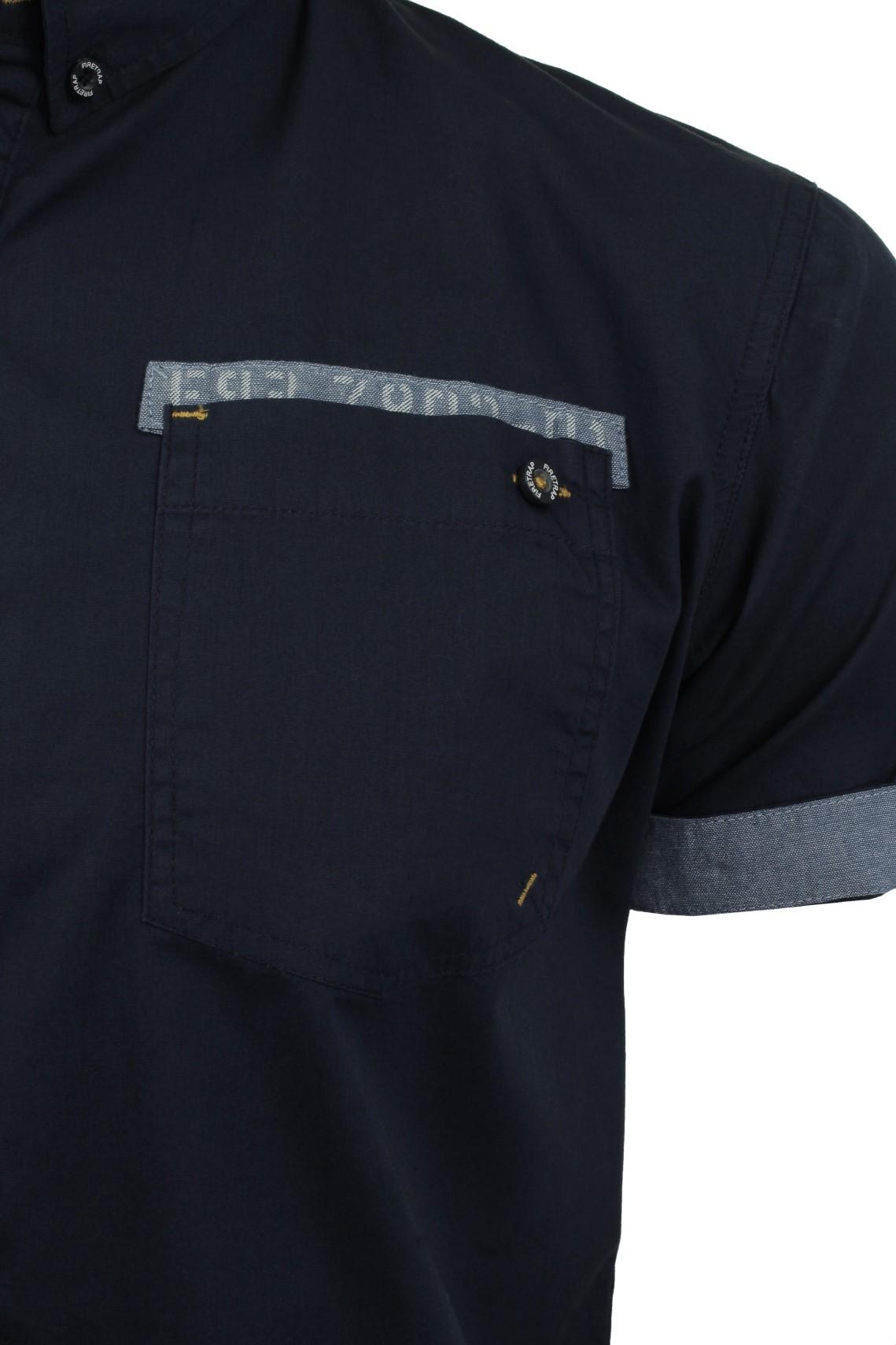 Da-Uomo-Popeline-Camicia-da-Firetrap-039-lanover-039-a-maniche-corte-Slim-Fit miniatura 13