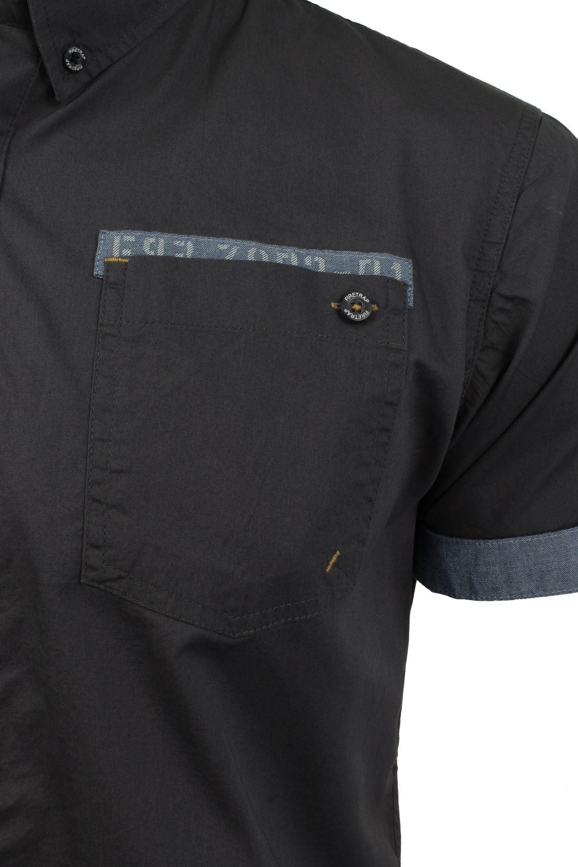 Da-Uomo-Popeline-Camicia-da-Firetrap-039-lanover-039-a-maniche-corte-Slim-Fit miniatura 16