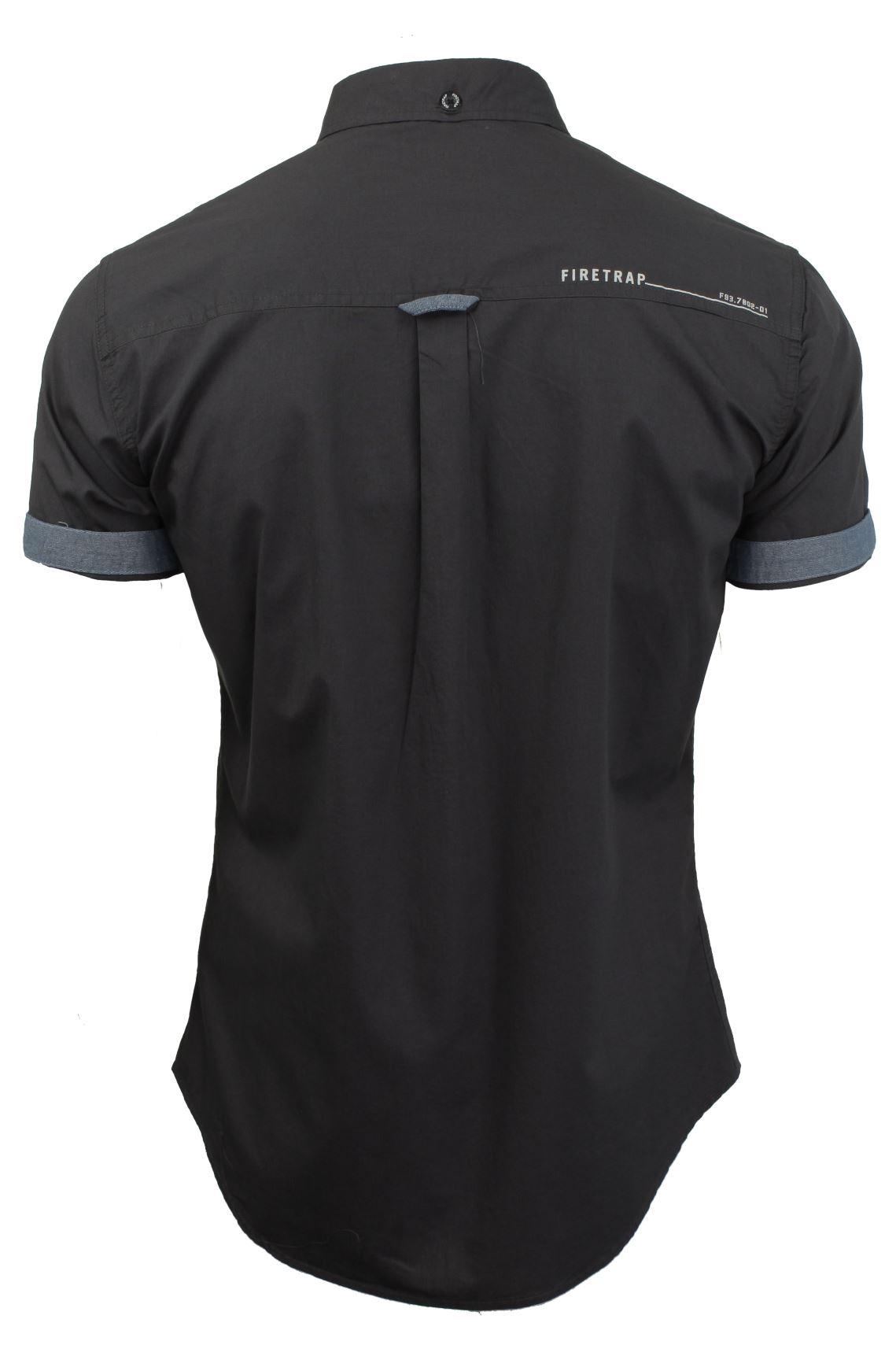 Da-Uomo-Popeline-Camicia-da-Firetrap-039-lanover-039-a-maniche-corte-Slim-Fit miniatura 17