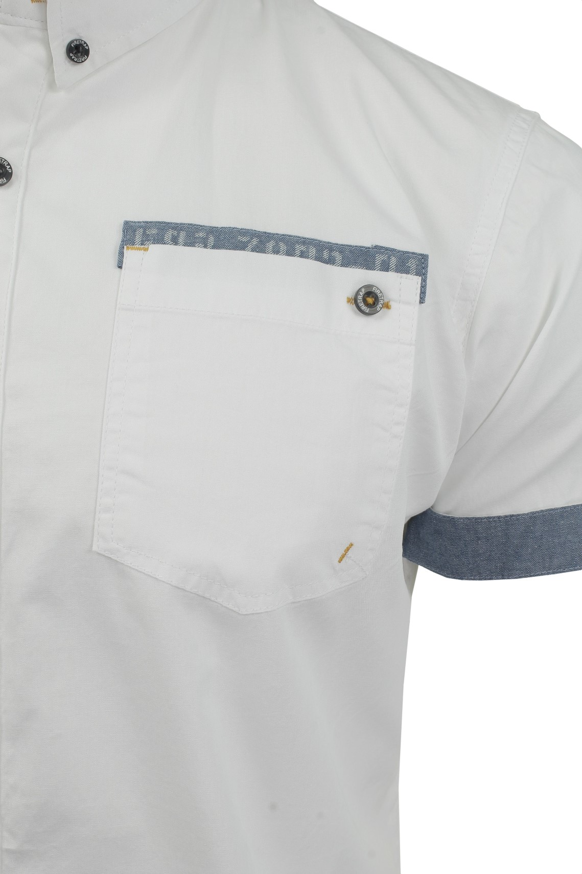 Da-Uomo-Popeline-Camicia-da-Firetrap-039-lanover-039-a-maniche-corte-Slim-Fit miniatura 19