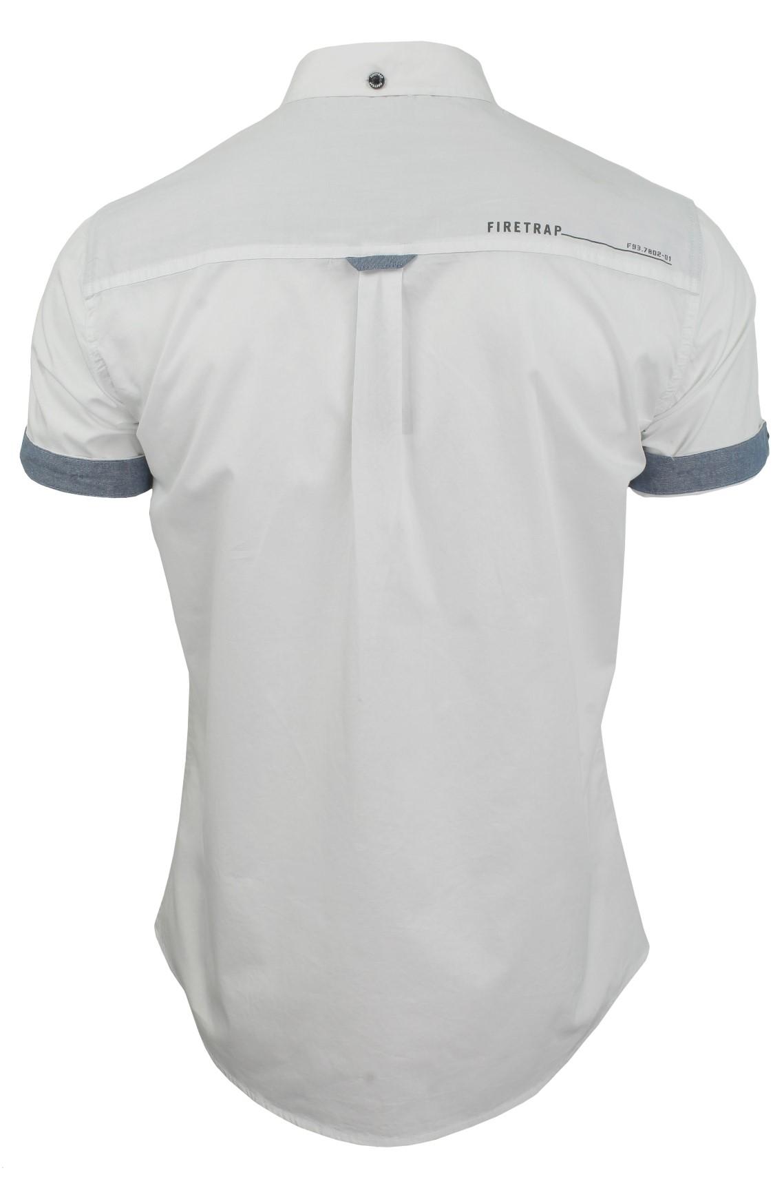 Da-Uomo-Popeline-Camicia-da-Firetrap-039-lanover-039-a-maniche-corte-Slim-Fit miniatura 20