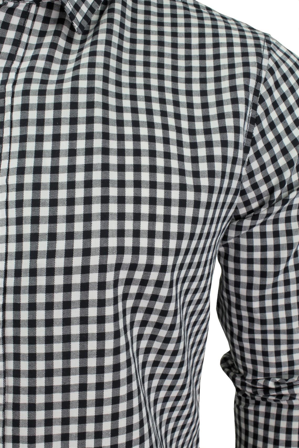 Mens-Gingham-Check-Shirt-by-Crosshatch-039-Larix-039 thumbnail 4